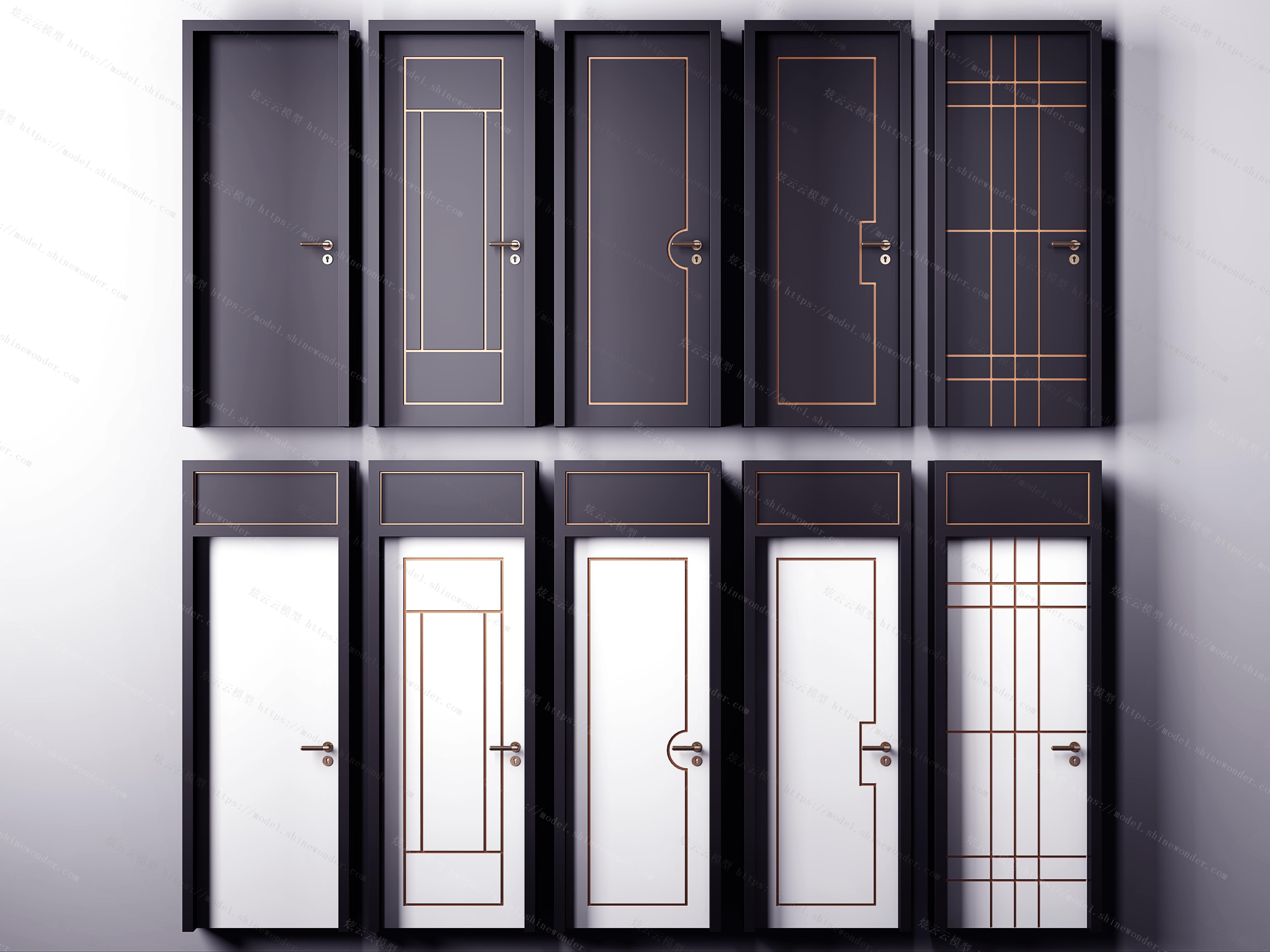 新中式实木烤漆房门模型