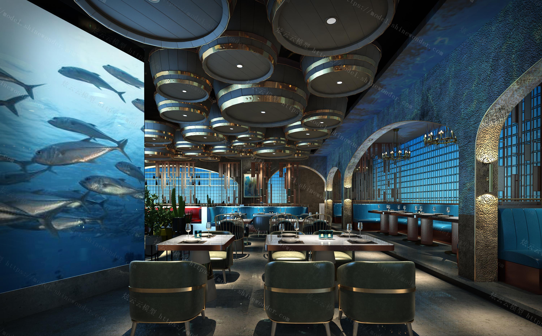 海洋主题餐厅用餐大厅模型