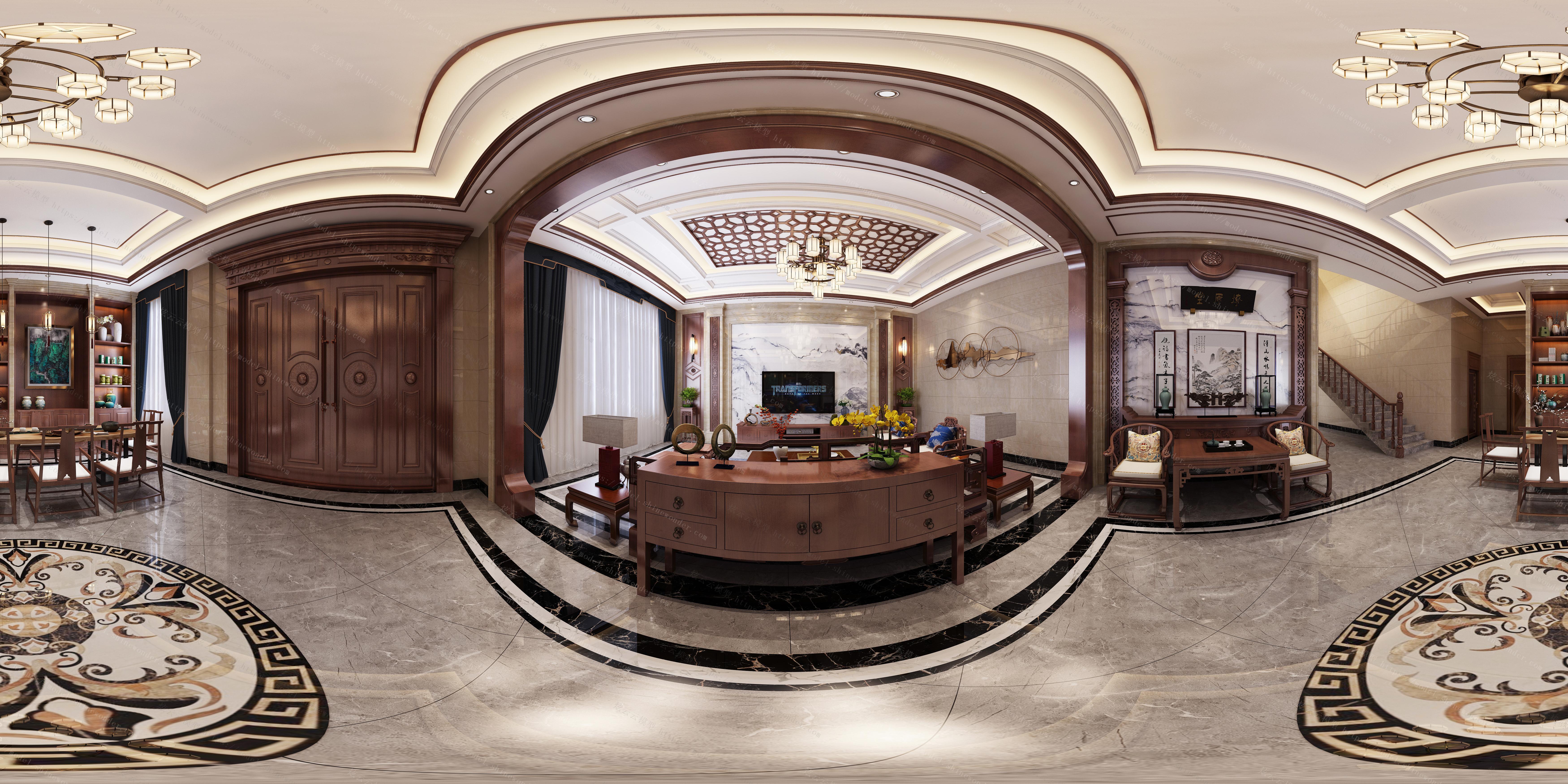 中式别墅客厅  茶室模型