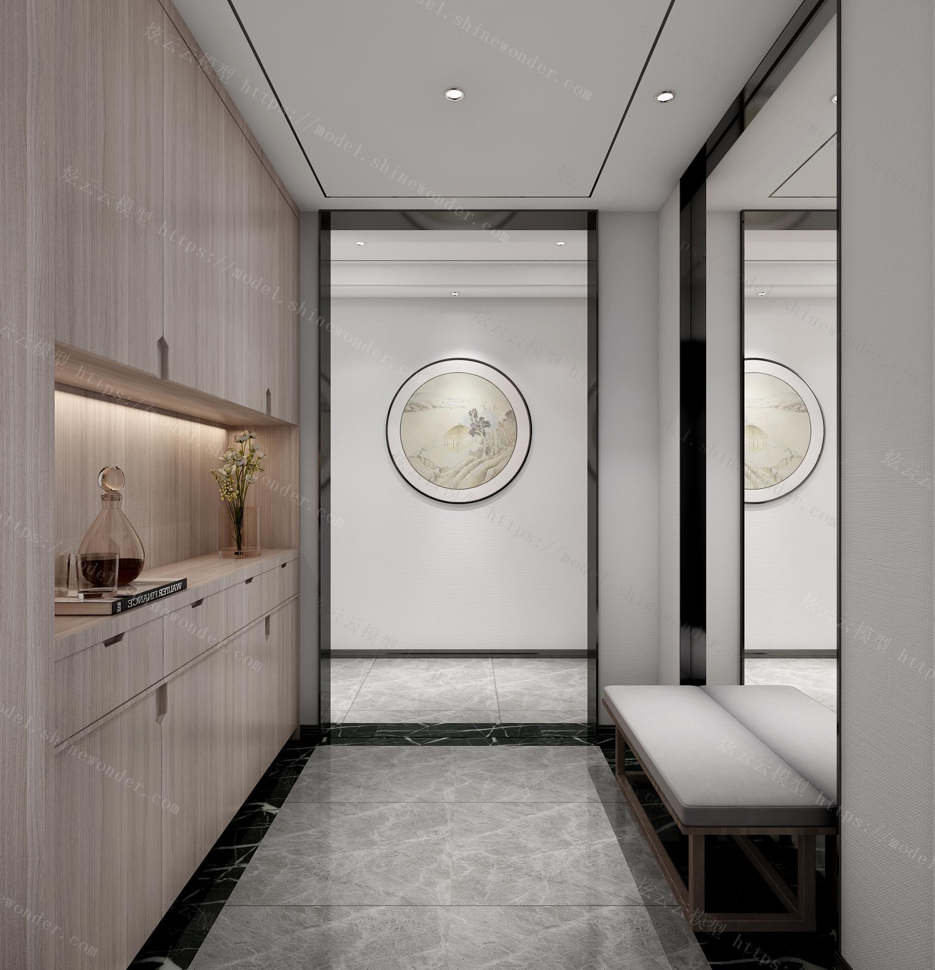 新中式客餐厅主卧模型模型
