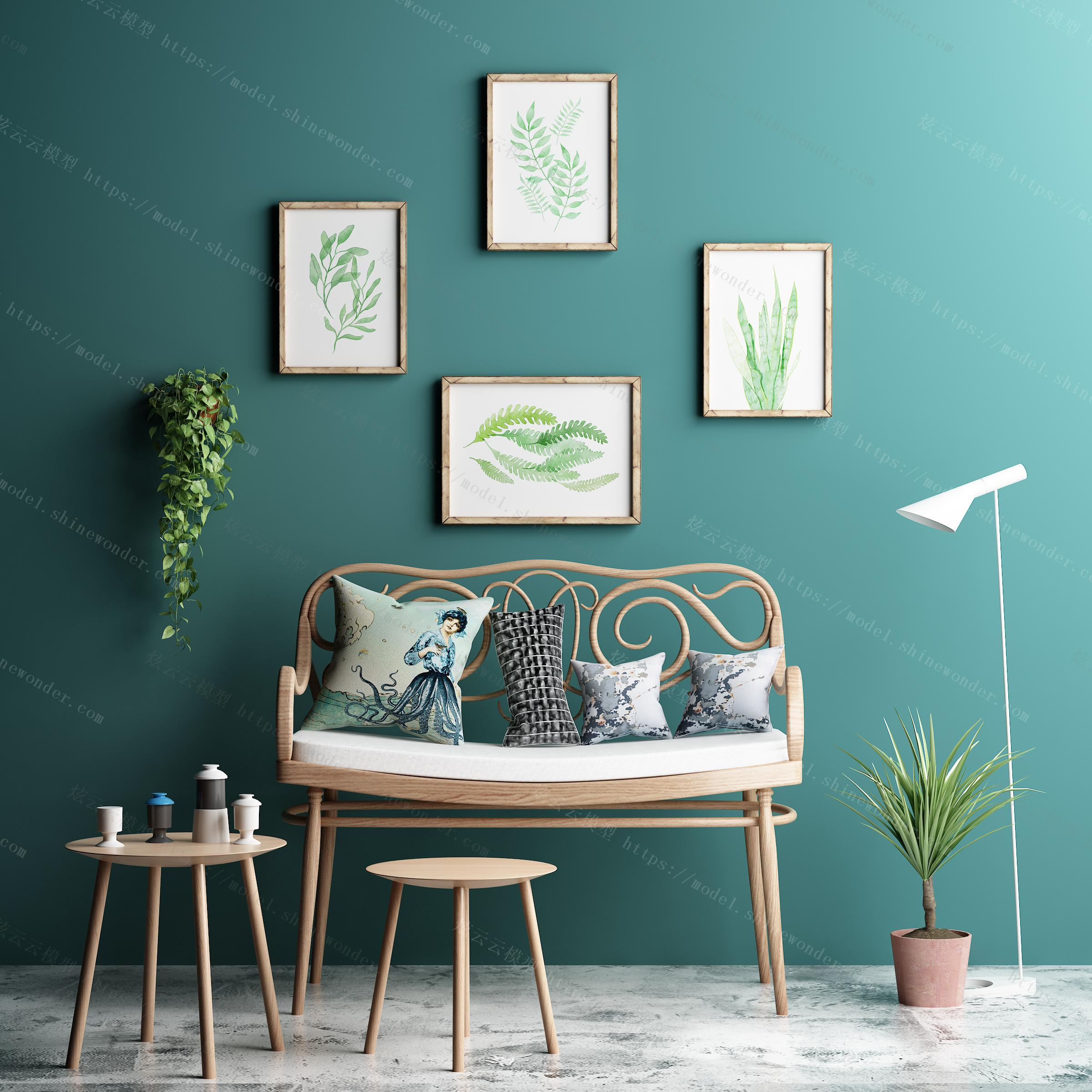 现代木质休闲椅组合模型
