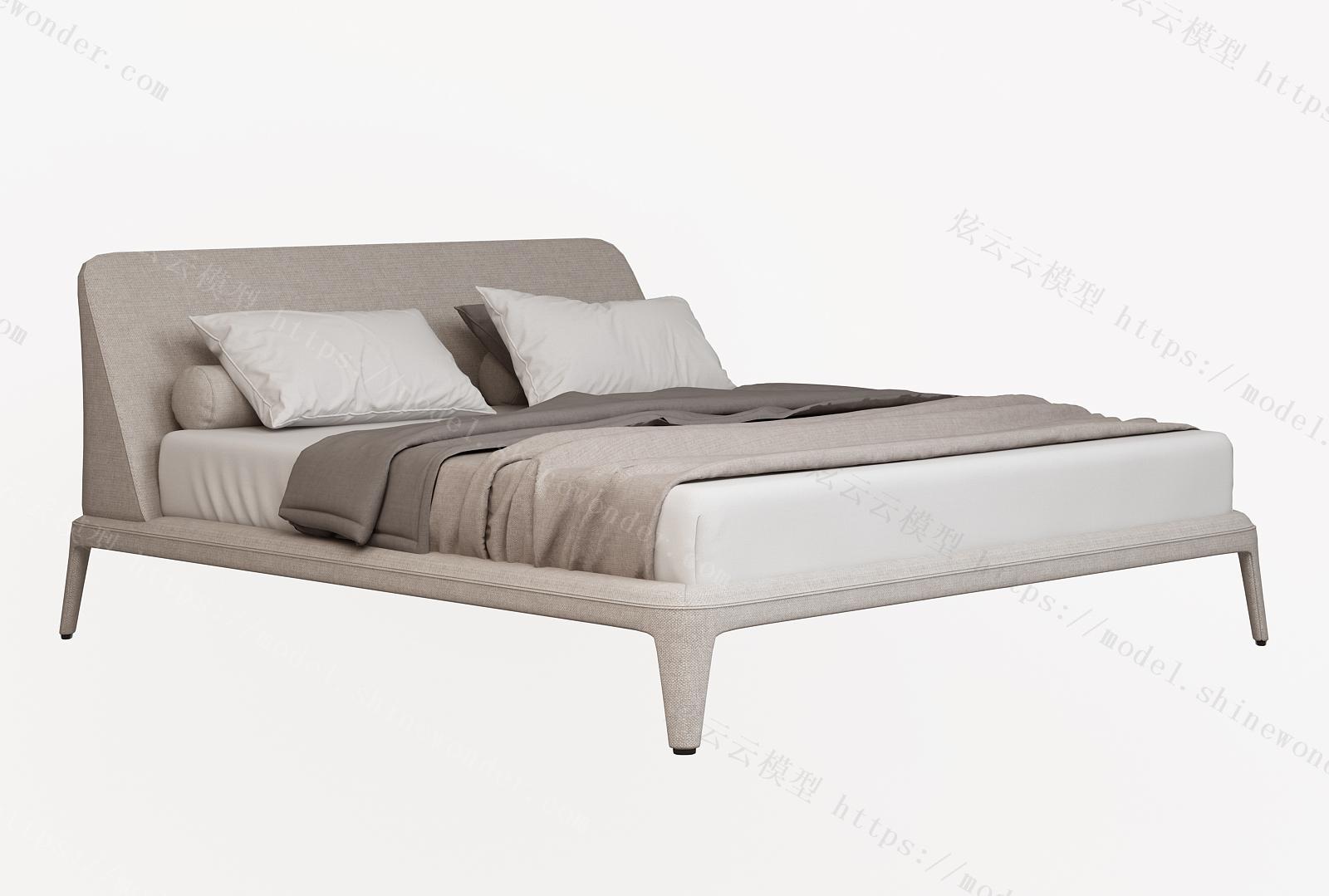 现代双人床模型