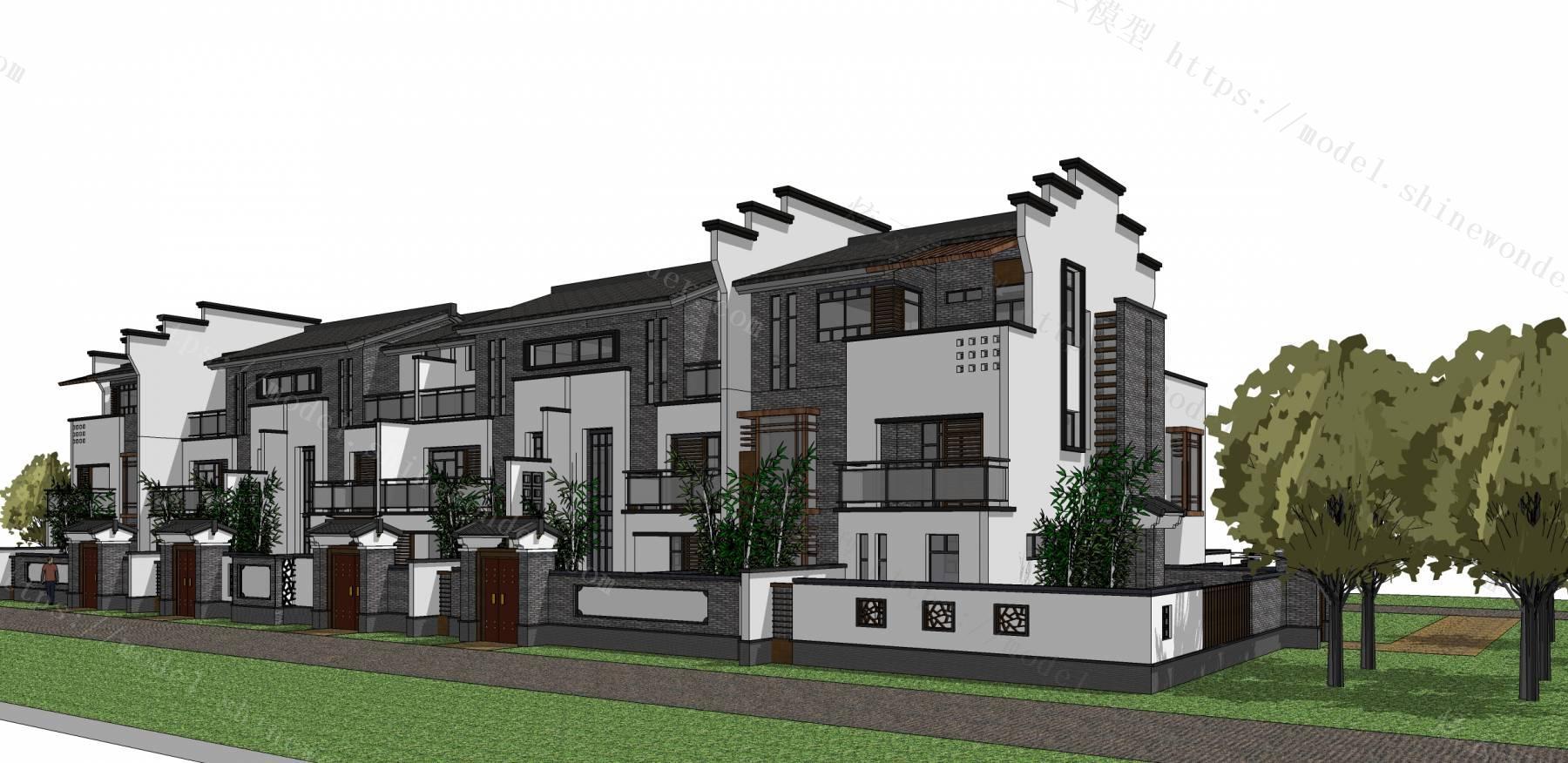 中式联排别墅模型模型