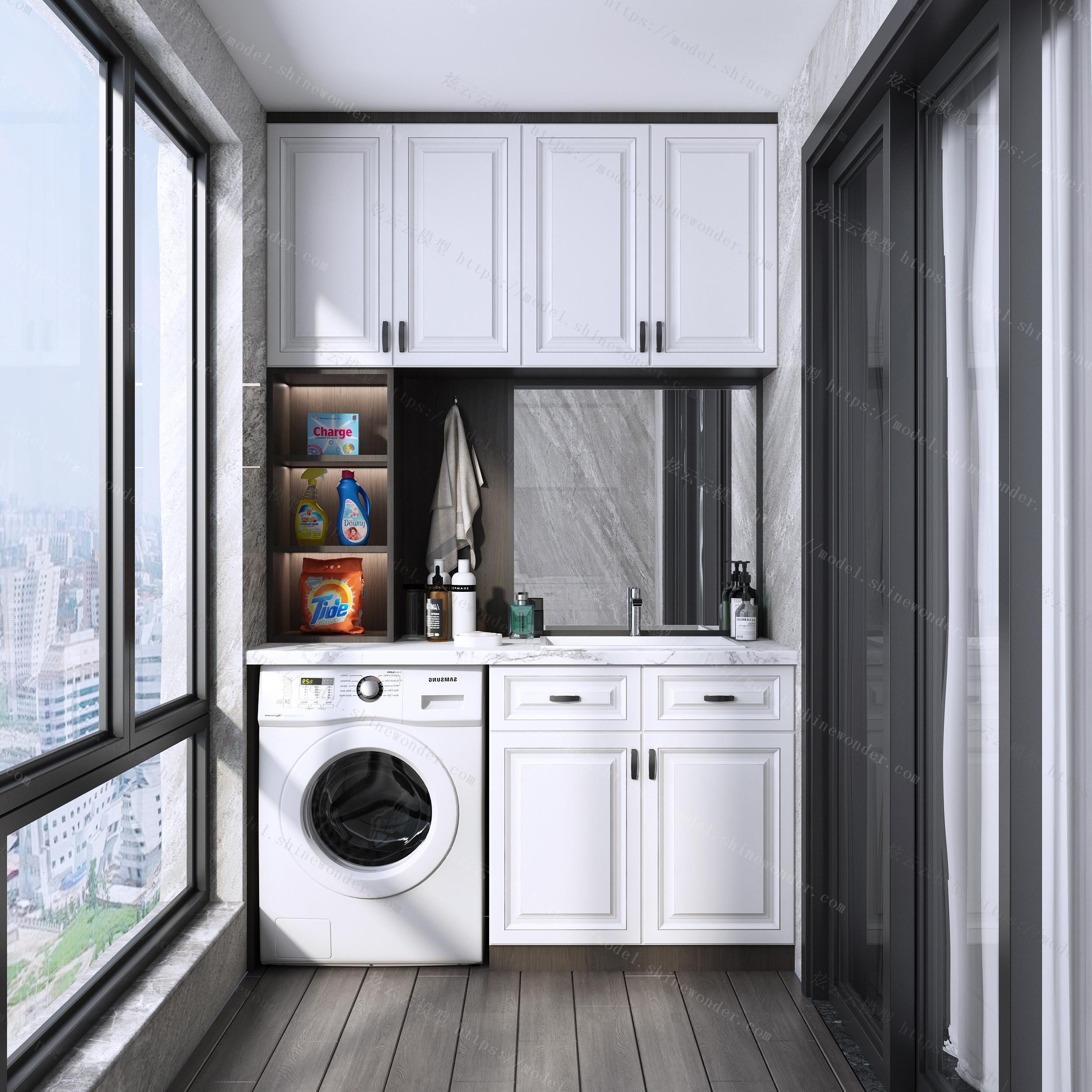 现代阳台洗衣房3d模型模型
