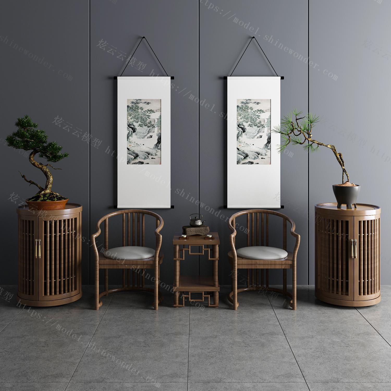 新中式茶桌椅边柜饰品组合模型