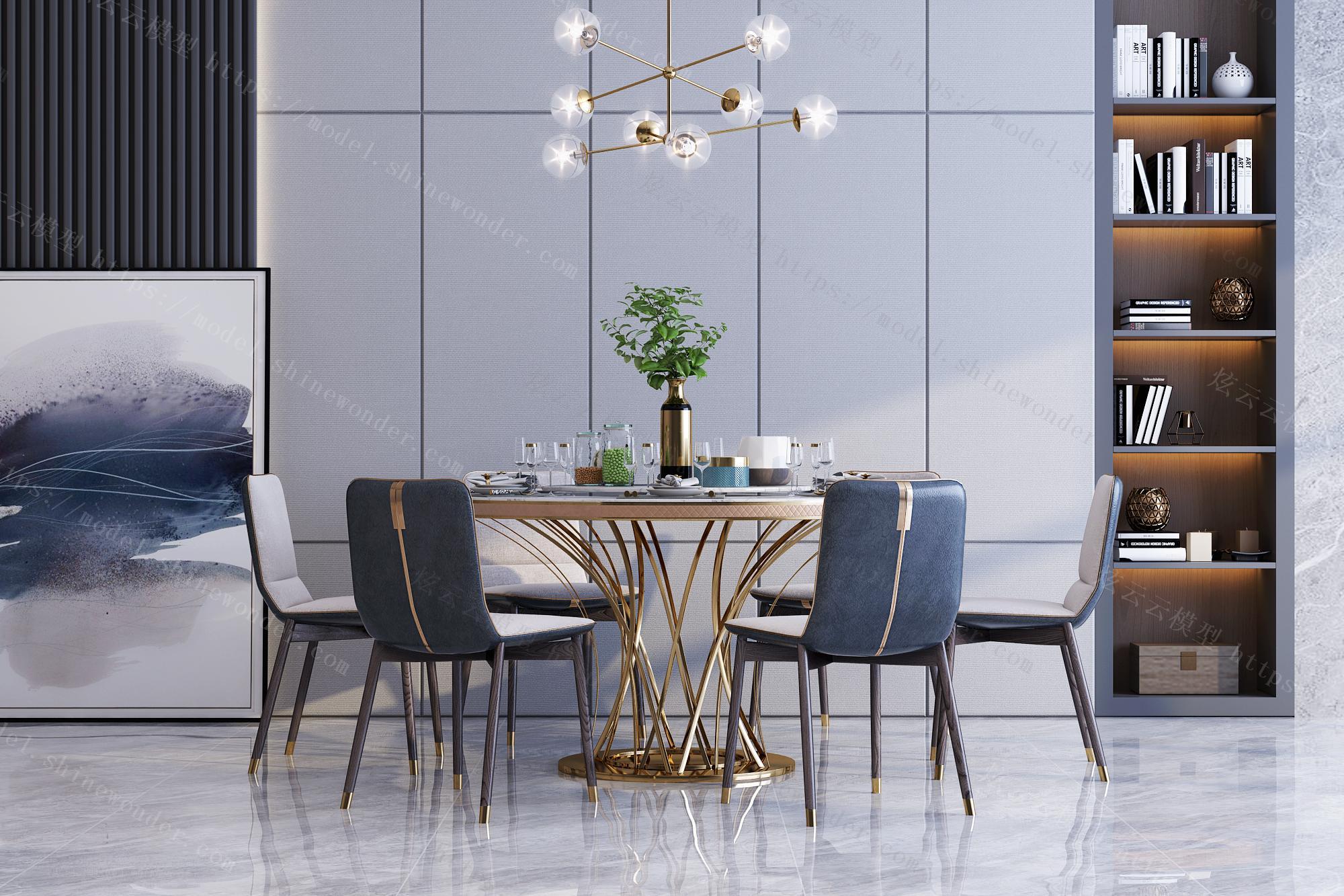 现代轻奢圆形餐桌椅组合模型