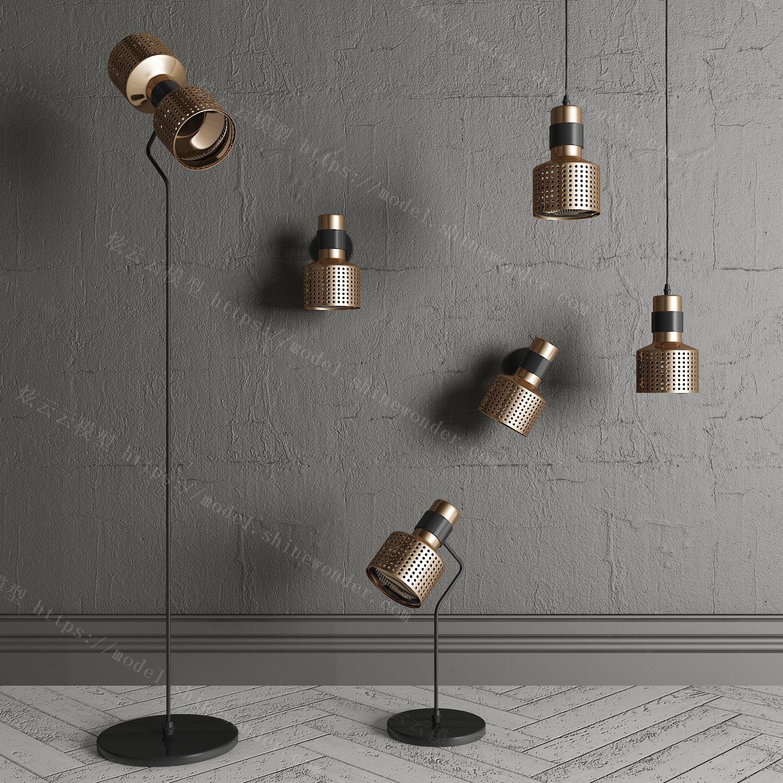 现代金属吊灯落地灯台灯壁灯组合模型