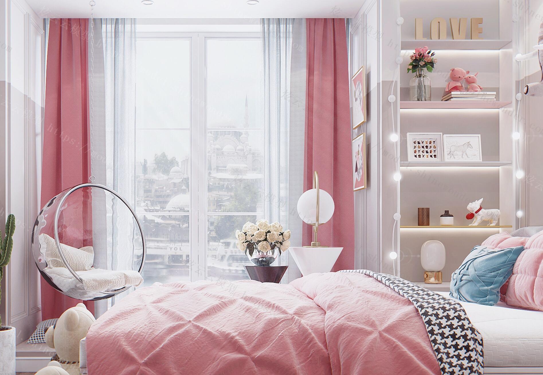 北欧风格女儿房,榻榻米组合柜,书桌书柜,模型