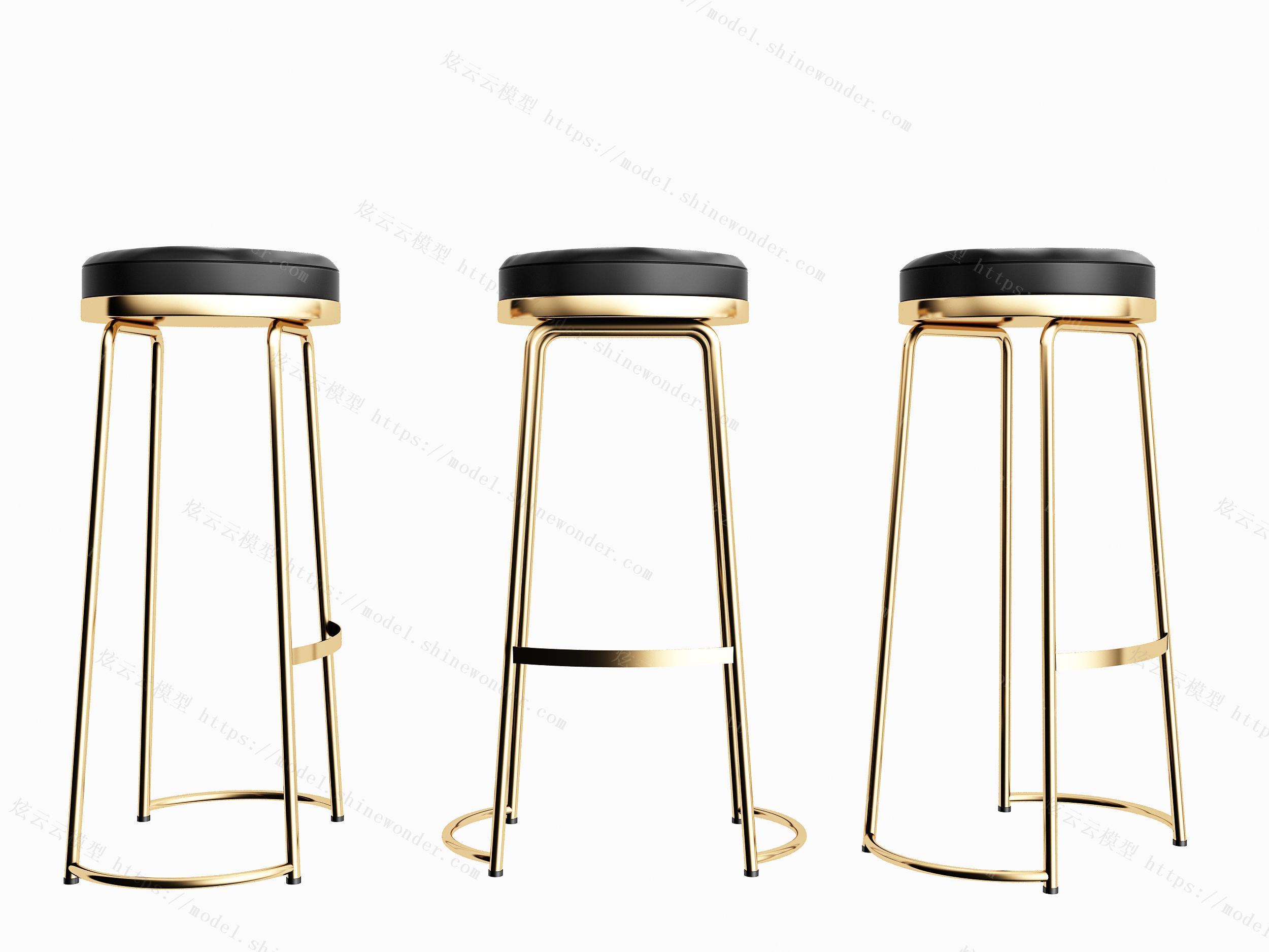 现代金属吧台椅子摆件组合模型