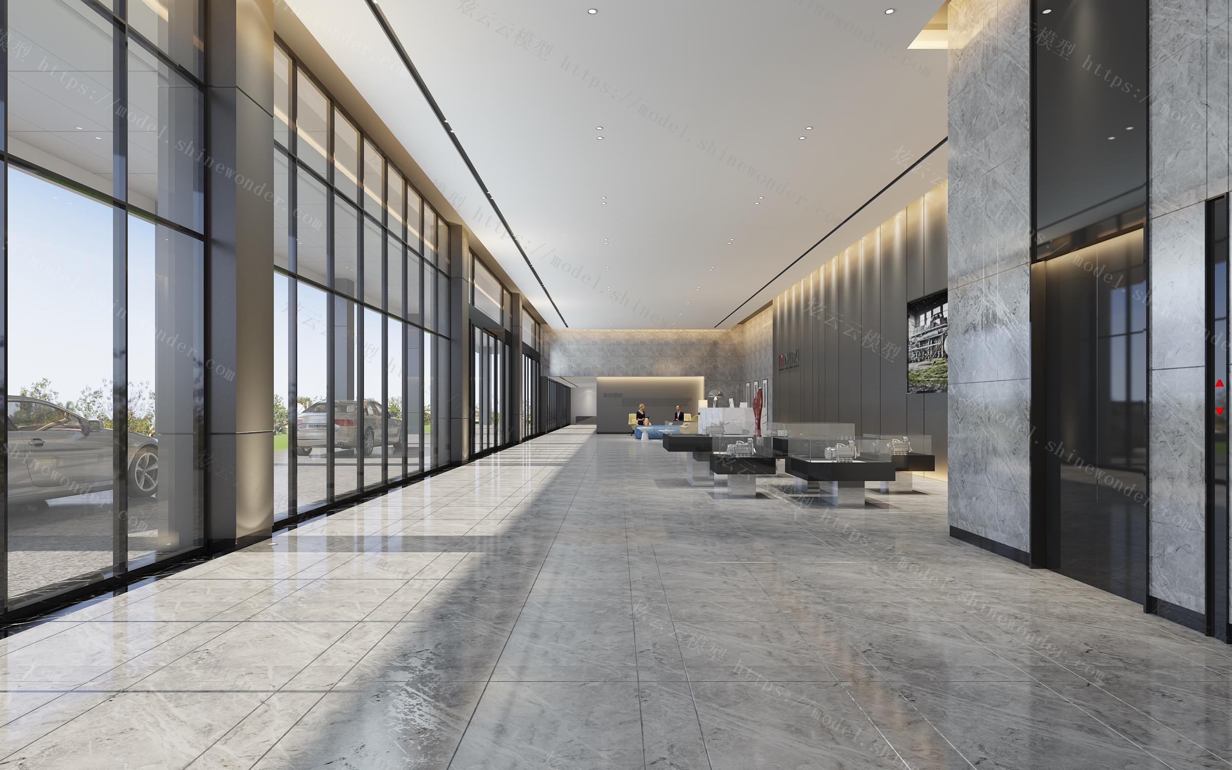 现代售楼处大厅模型