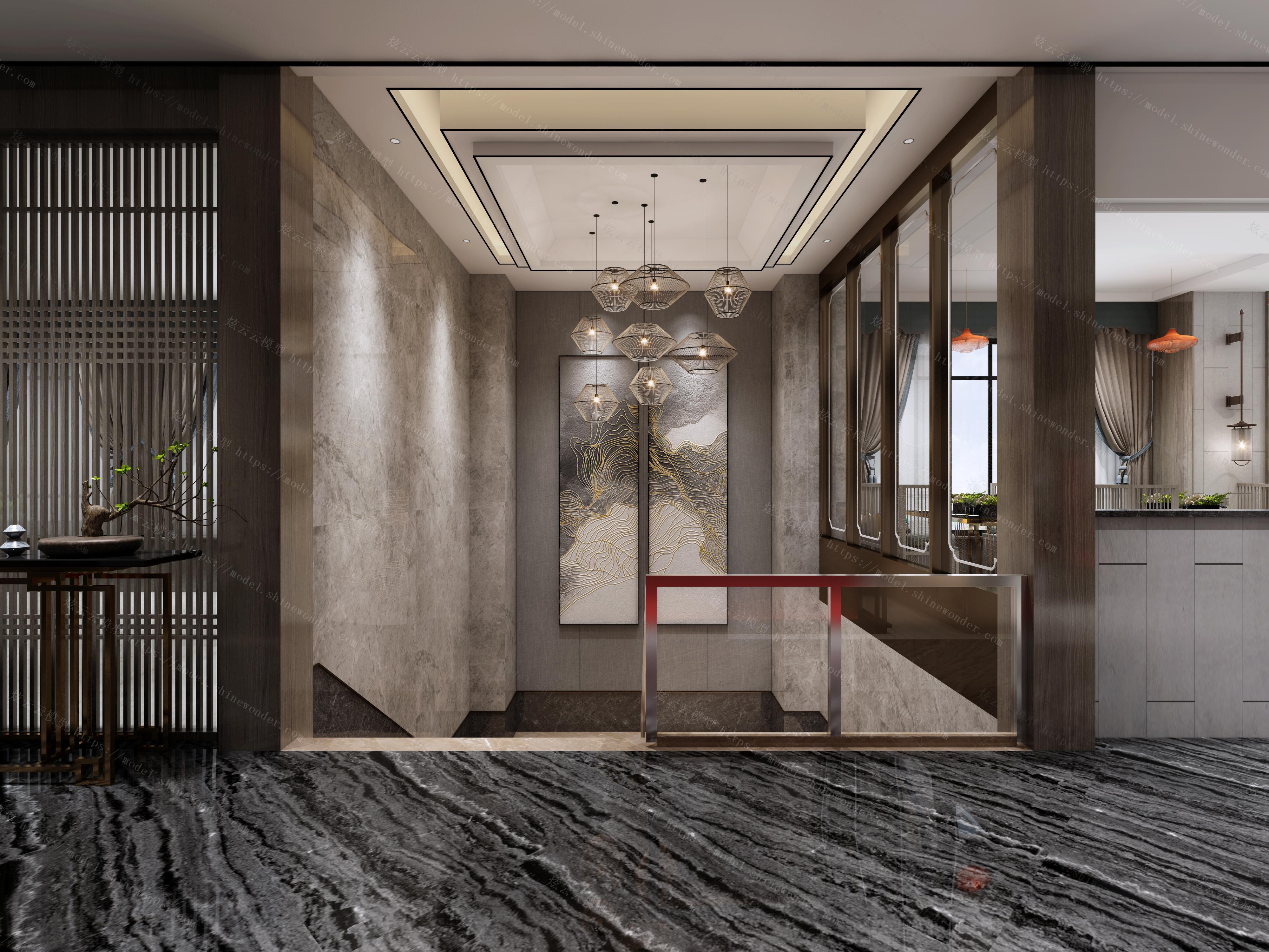 新中式餐厅楼梯厅模型