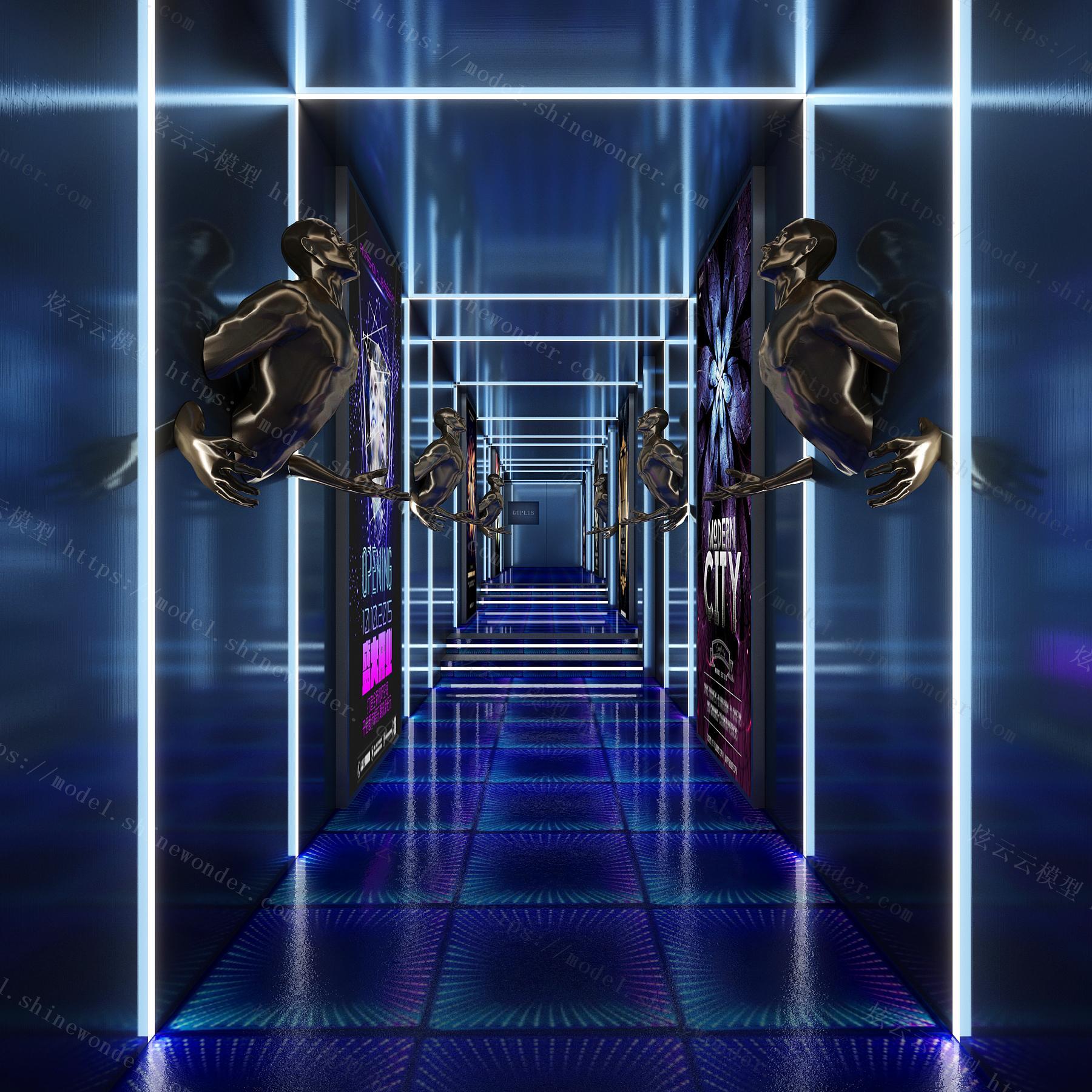 现代科技酒吧KTV过道模型