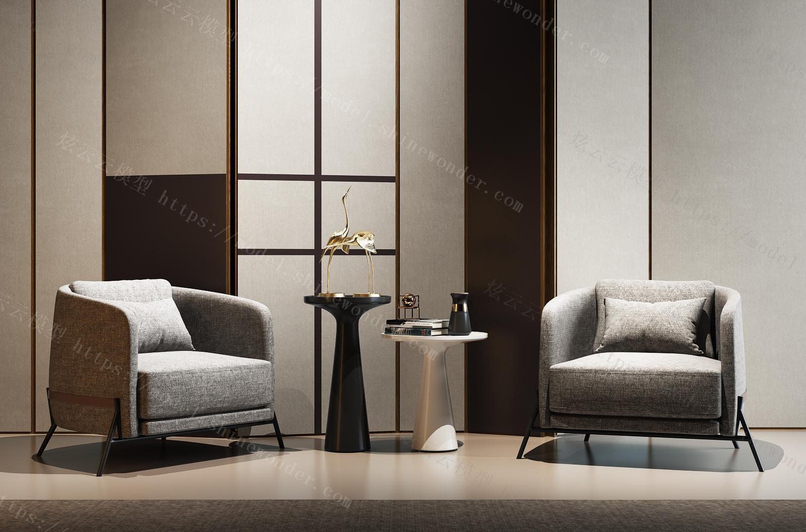 现代休闲椅组合模型