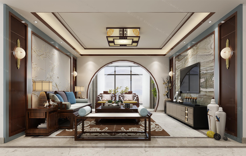 新中式客厅、餐厅、过道全景模型