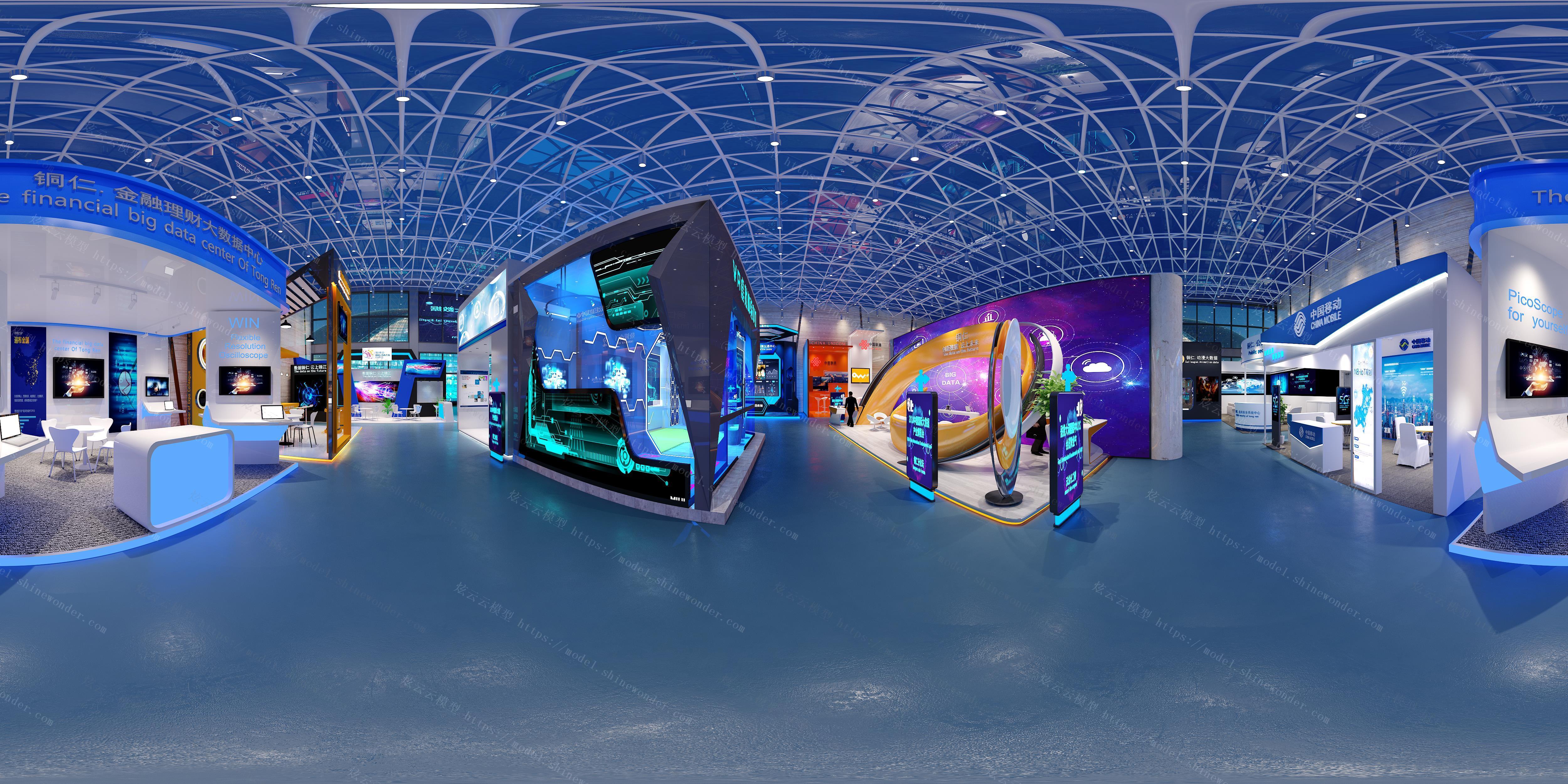现代科技展馆全景模型