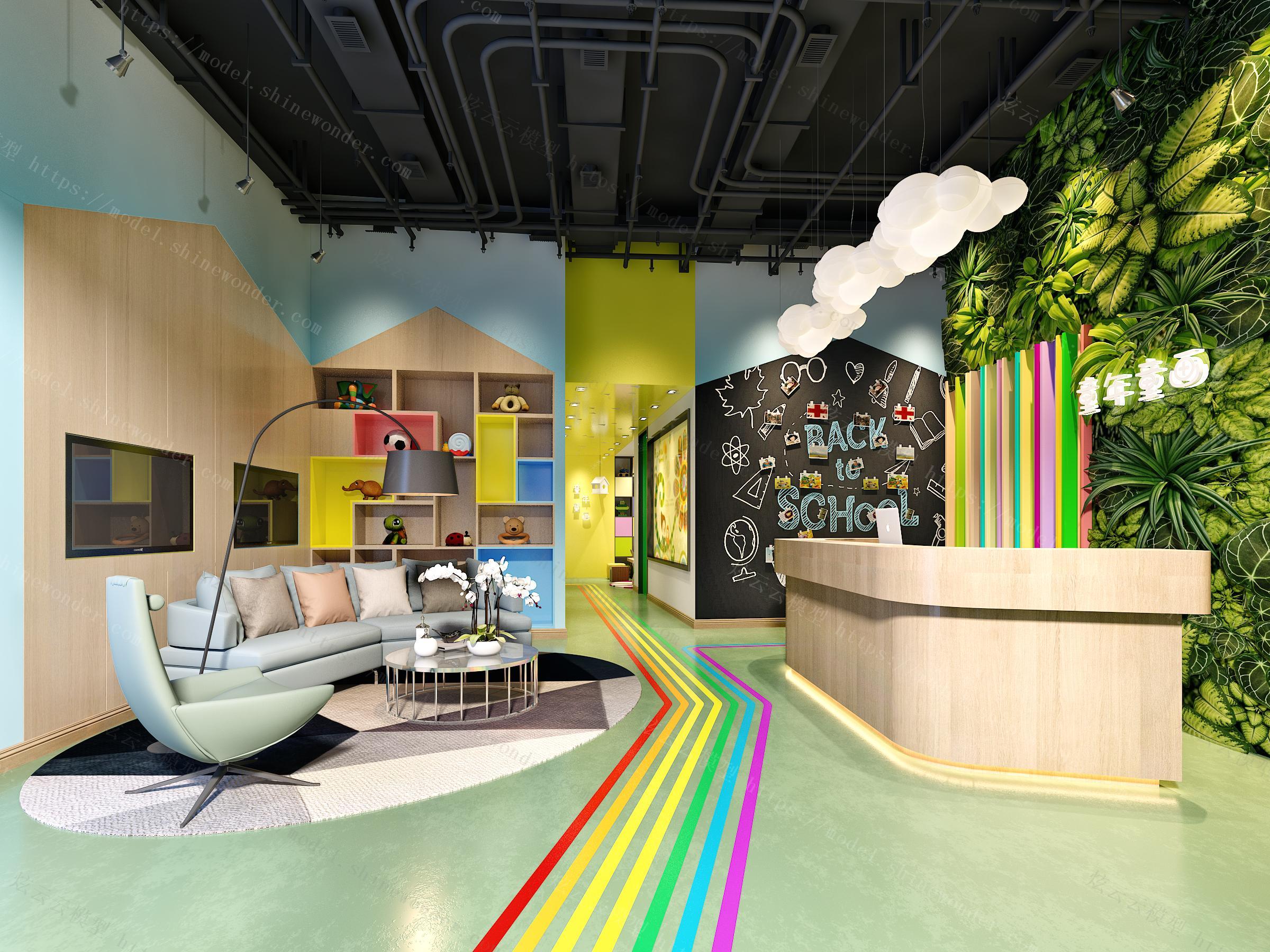 现代幼儿园教室模型