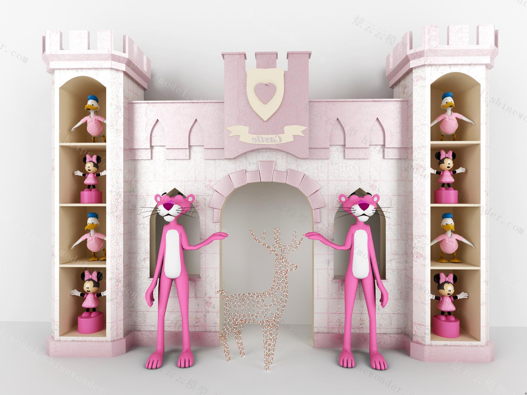 现代迪士尼卡通城堡模型