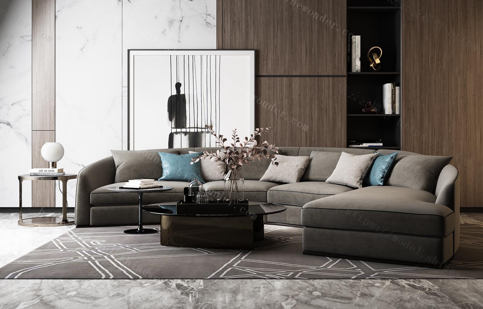 现代异形沙发组合模型