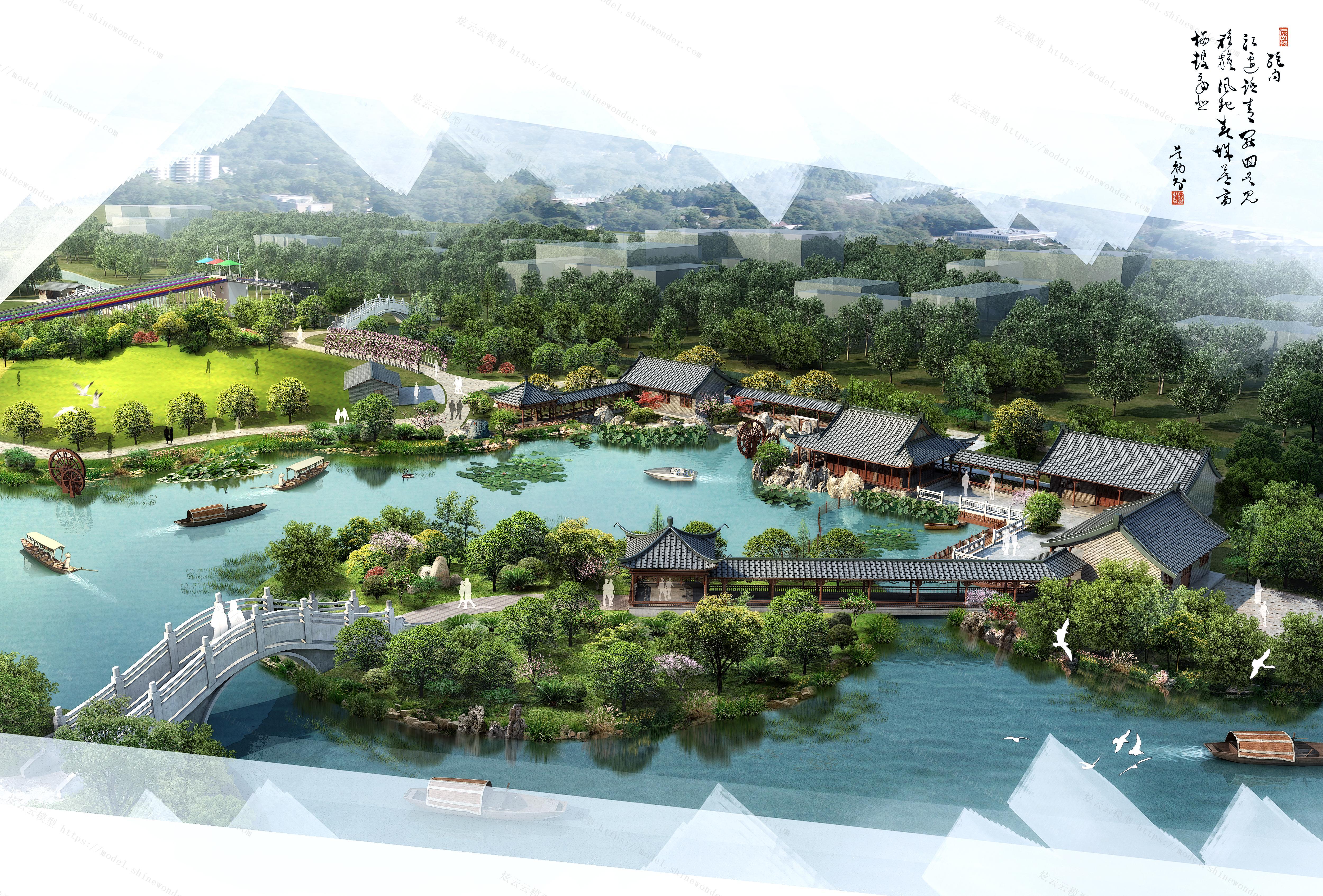 中式园林规划模型