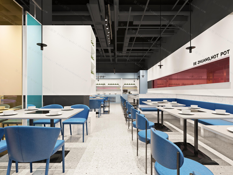 极简餐厅大厅模型