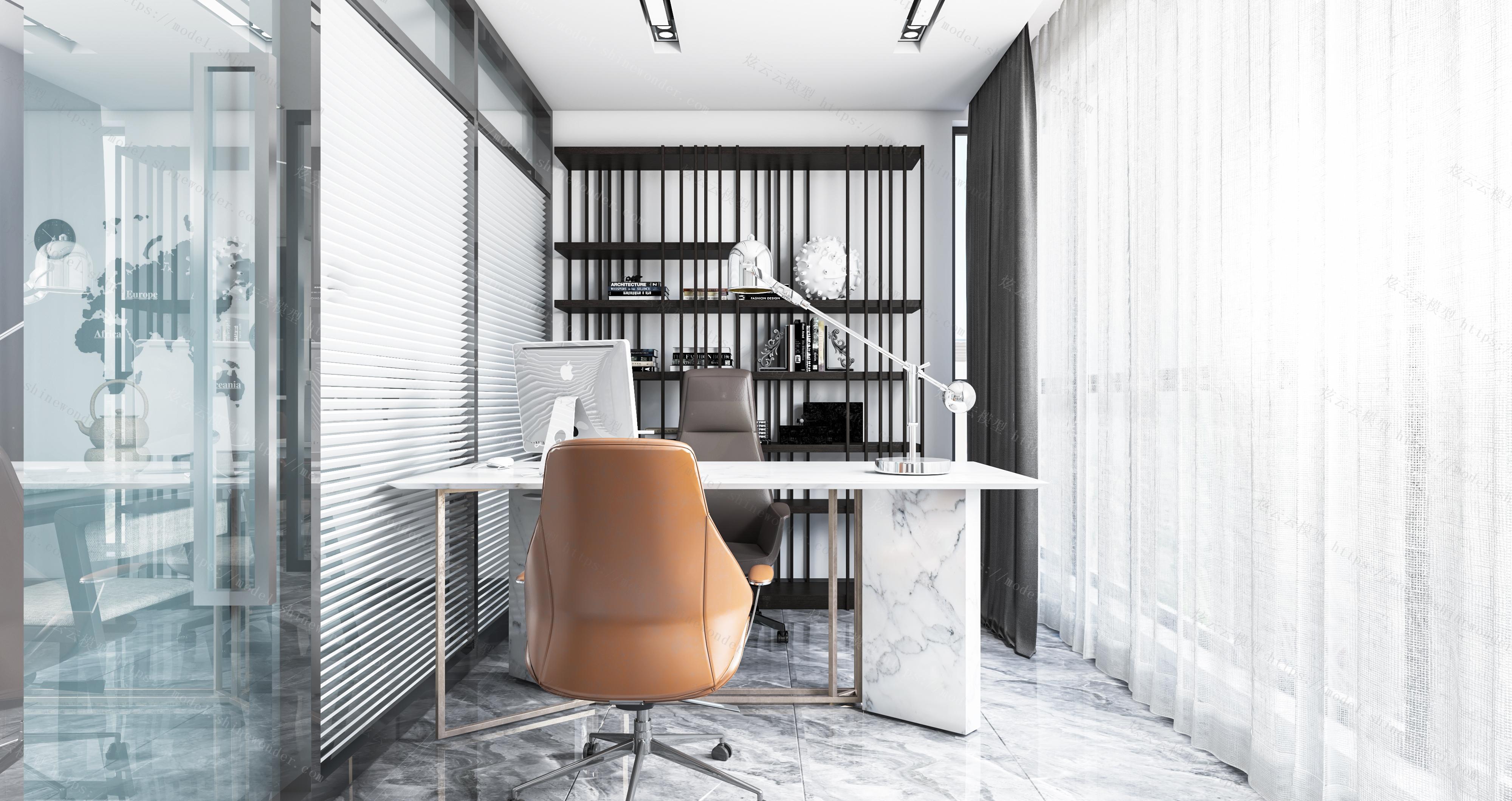 现代办公室全景模型