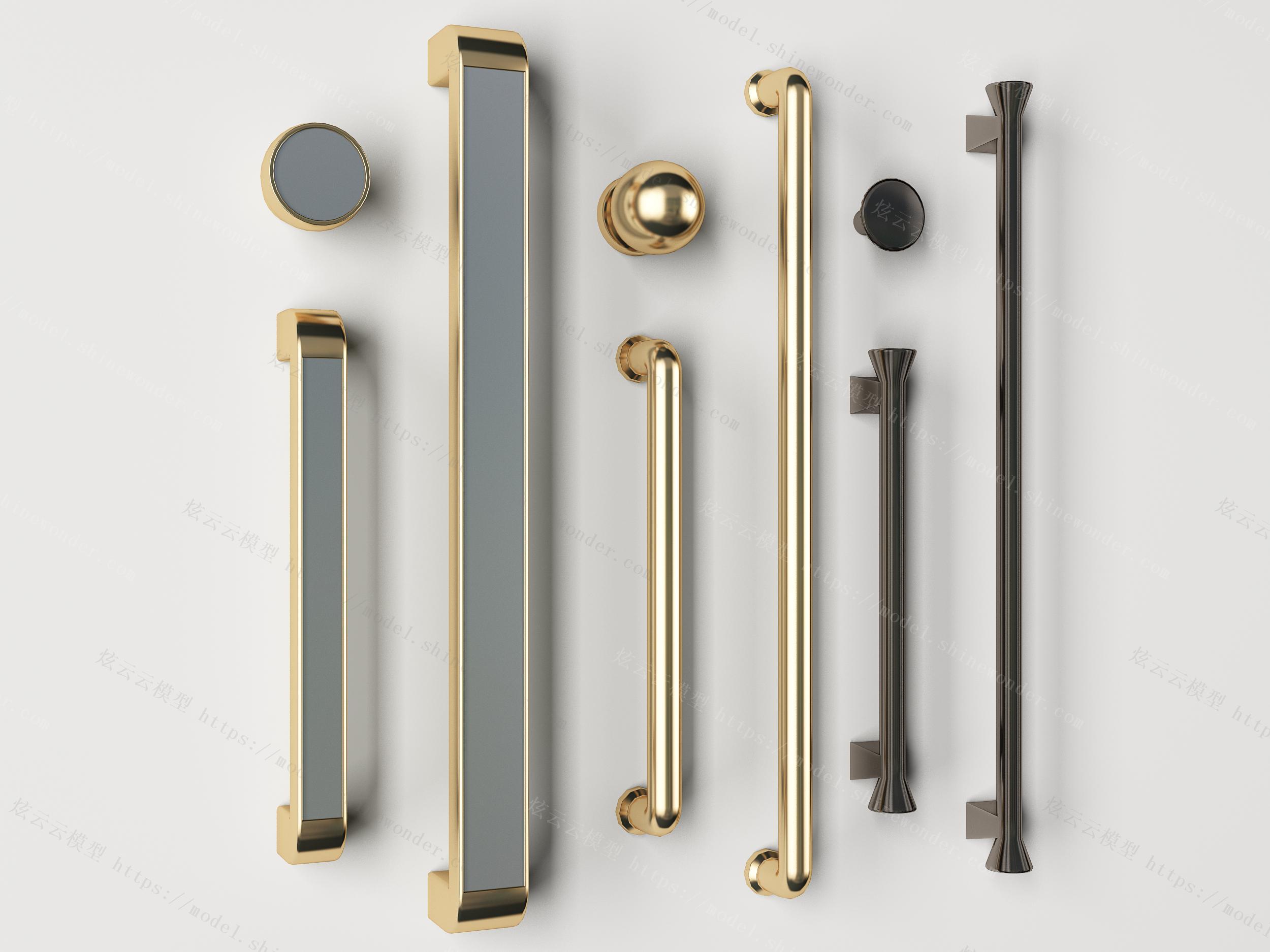 现代金属门把手门拉手组合模型