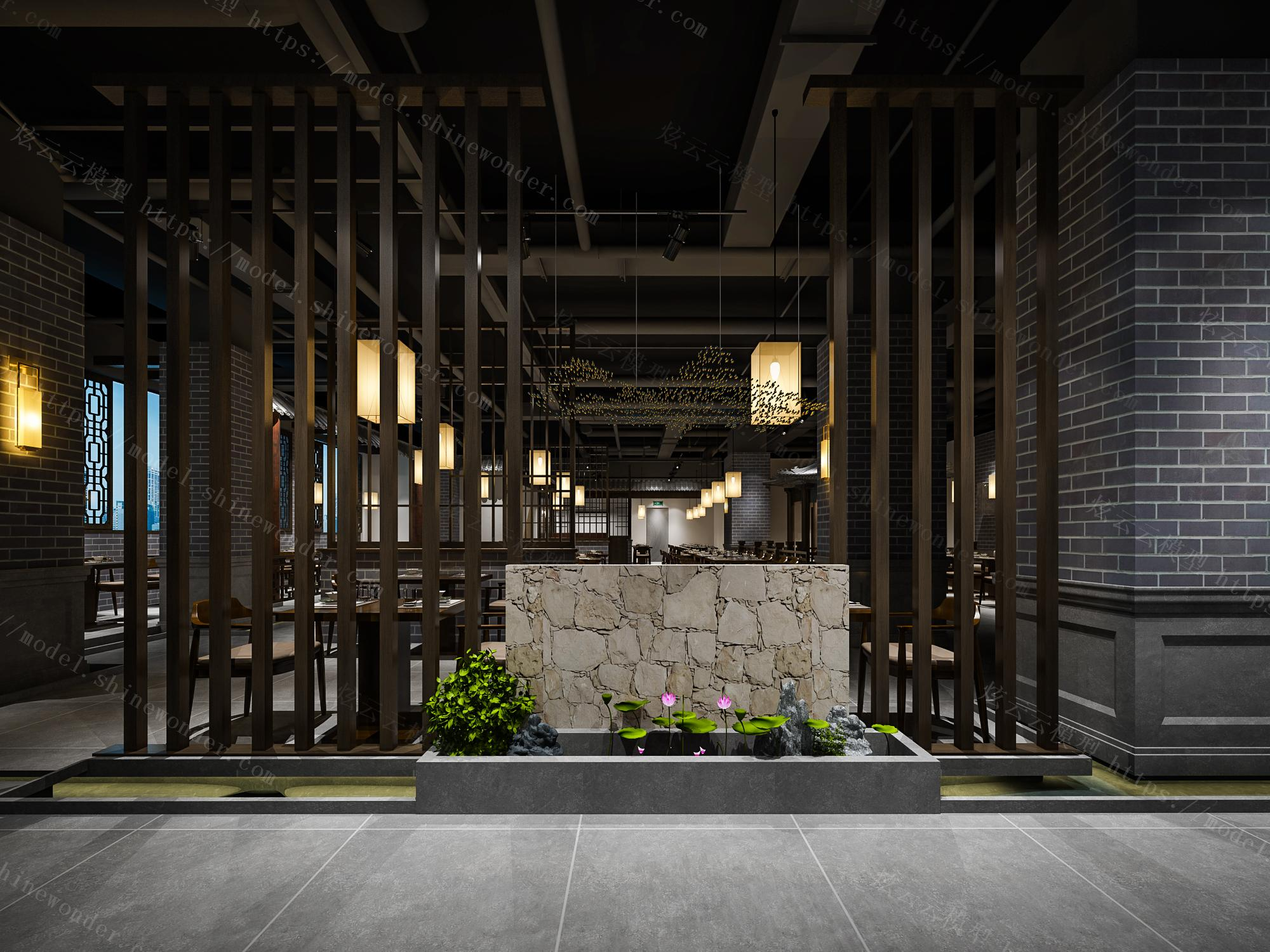 中式火锅店模型
