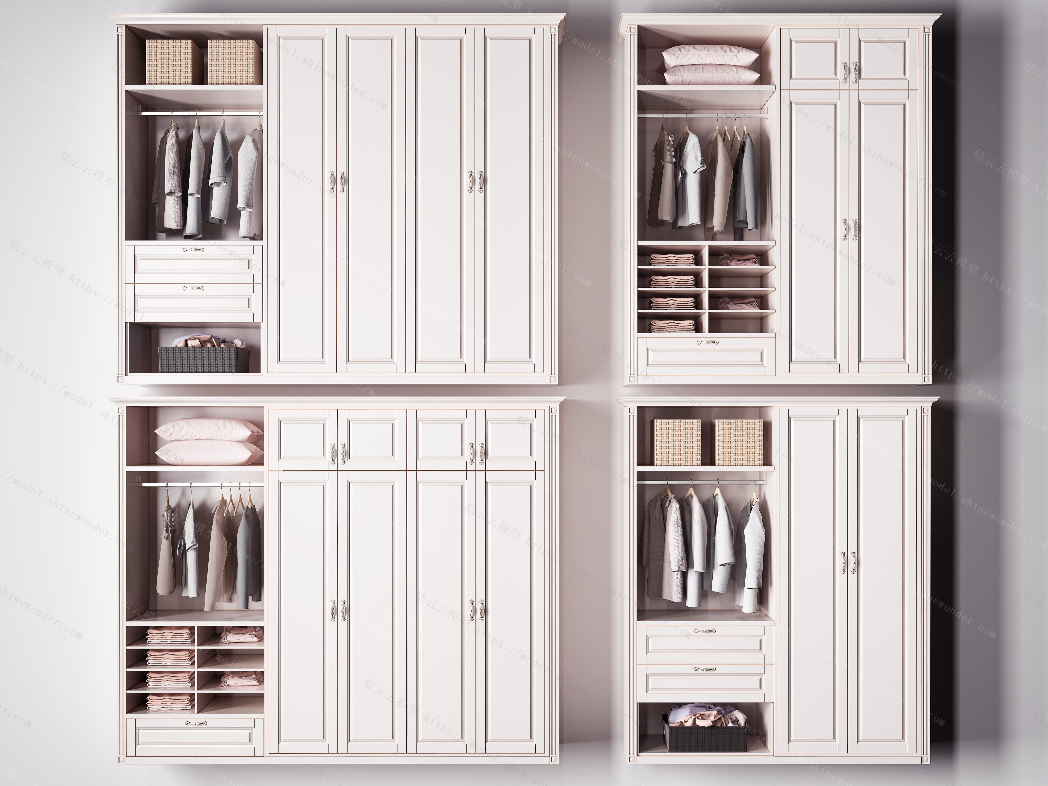 简欧实木衣柜组合模型