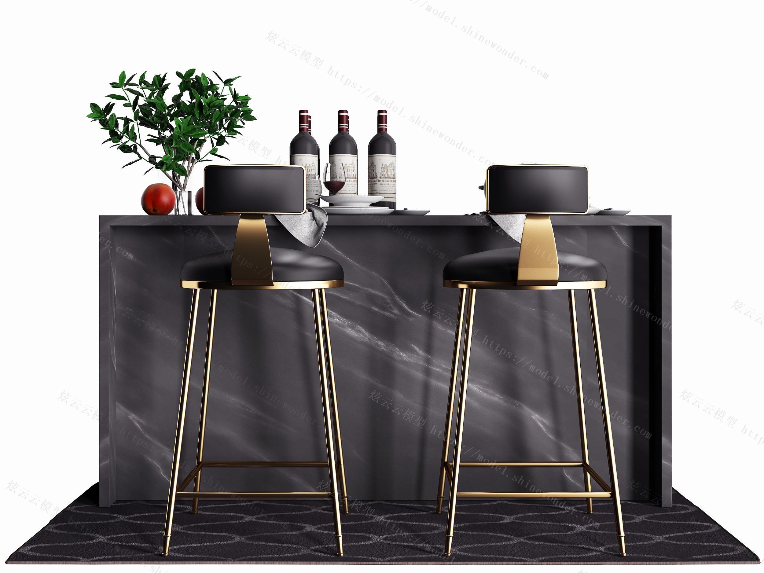 现代金属吧台椅子组合模型