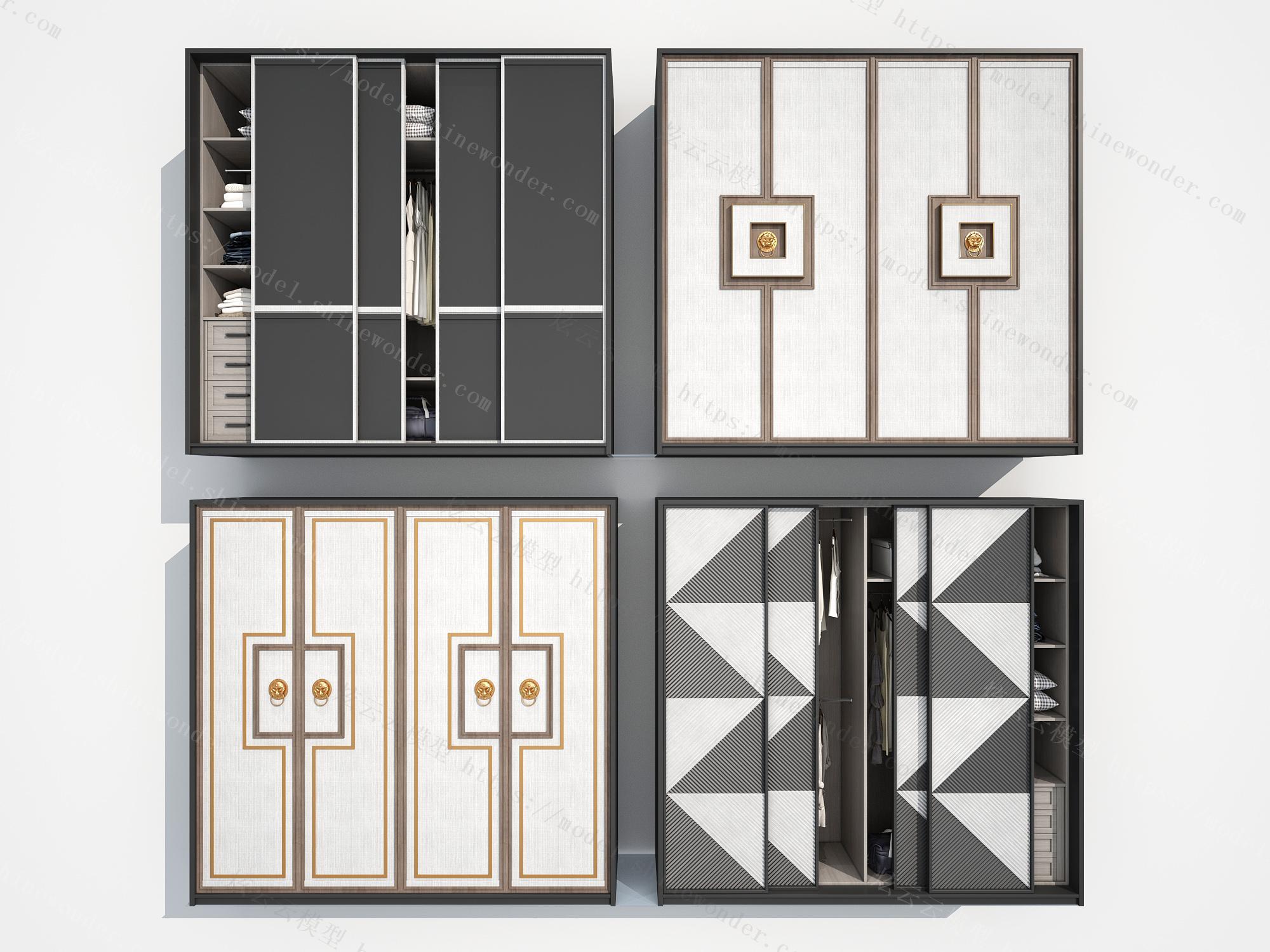 现代新中式中式衣柜模型