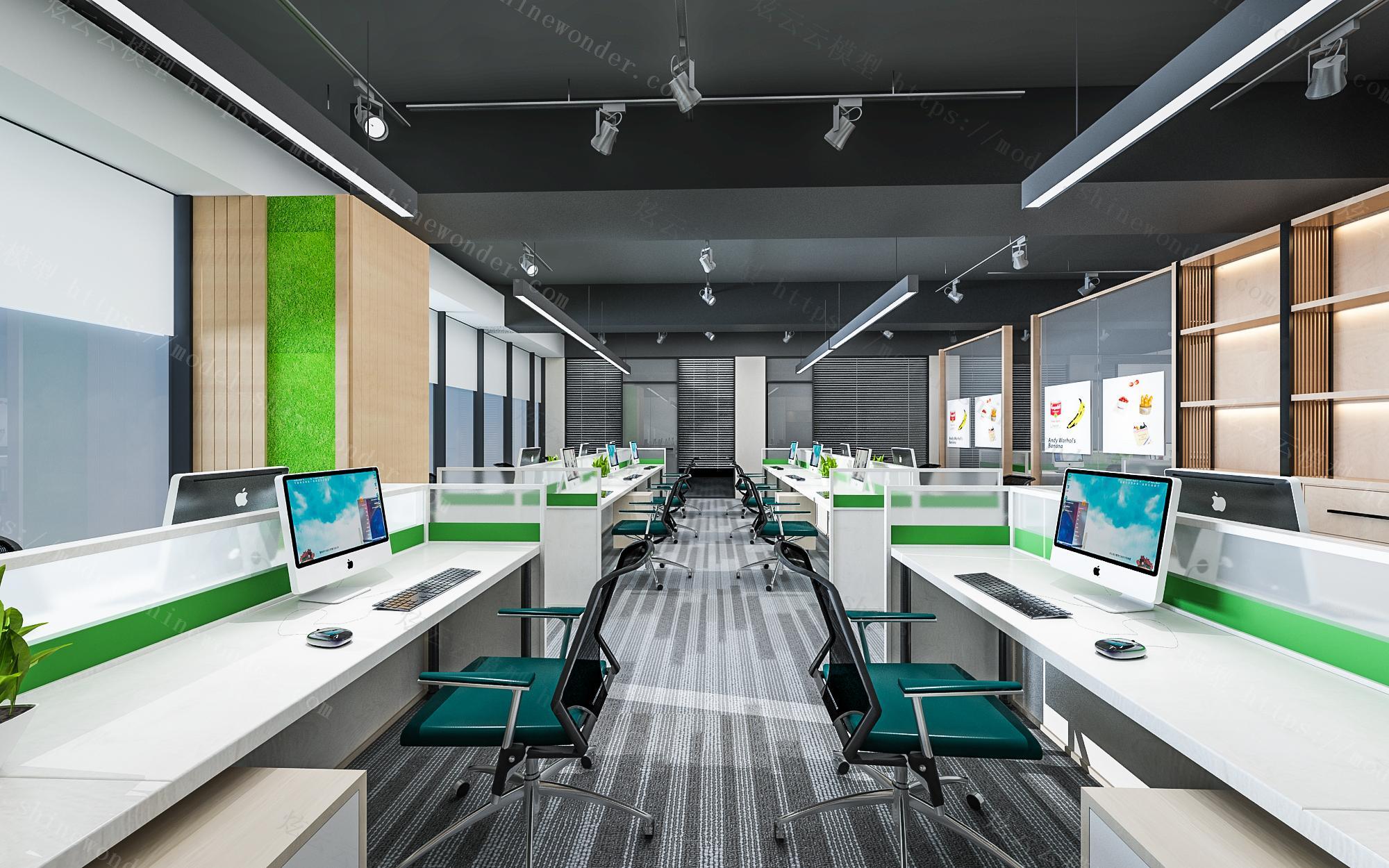 现代办公大厅模型