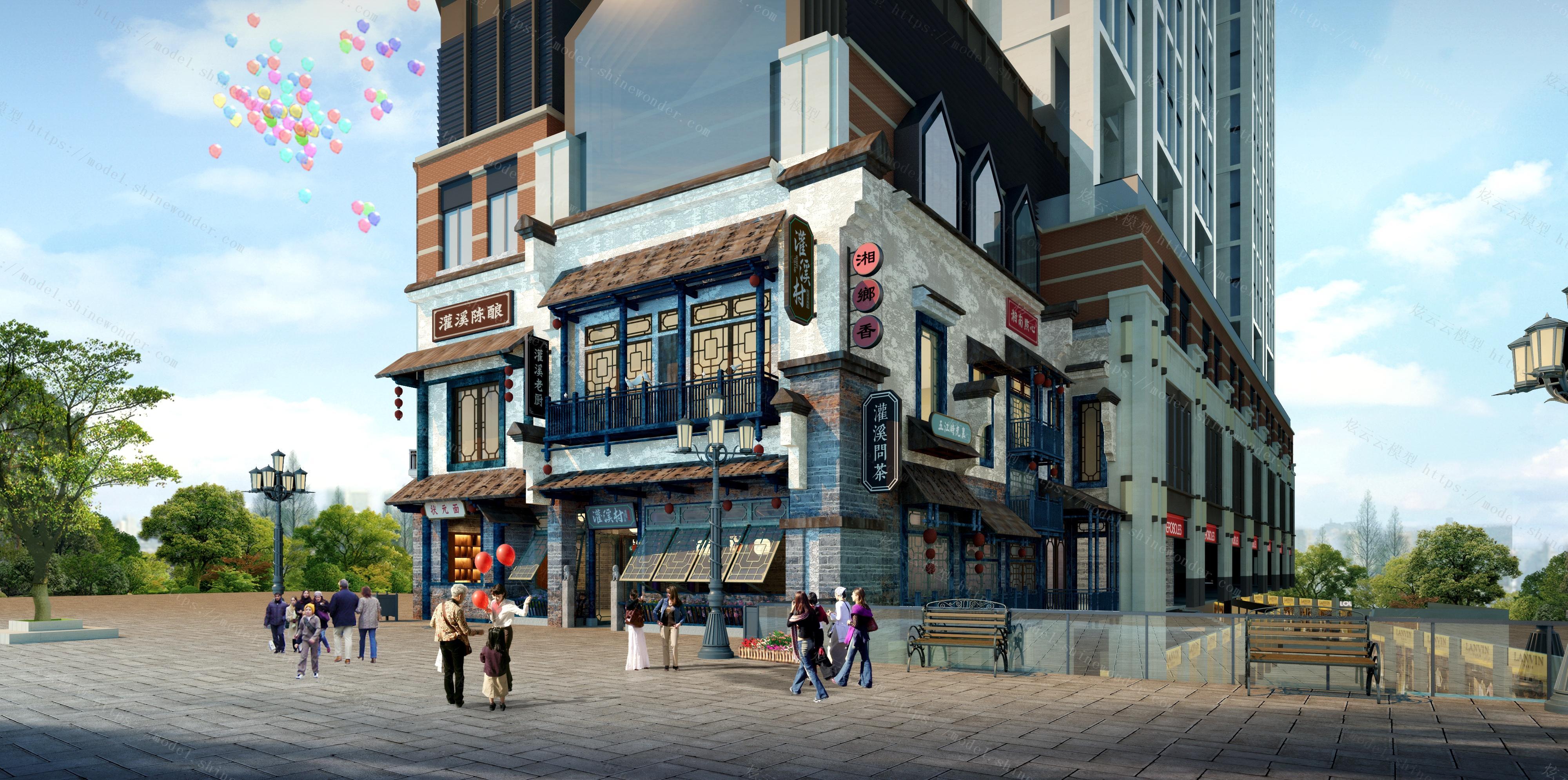 中式商业街模型