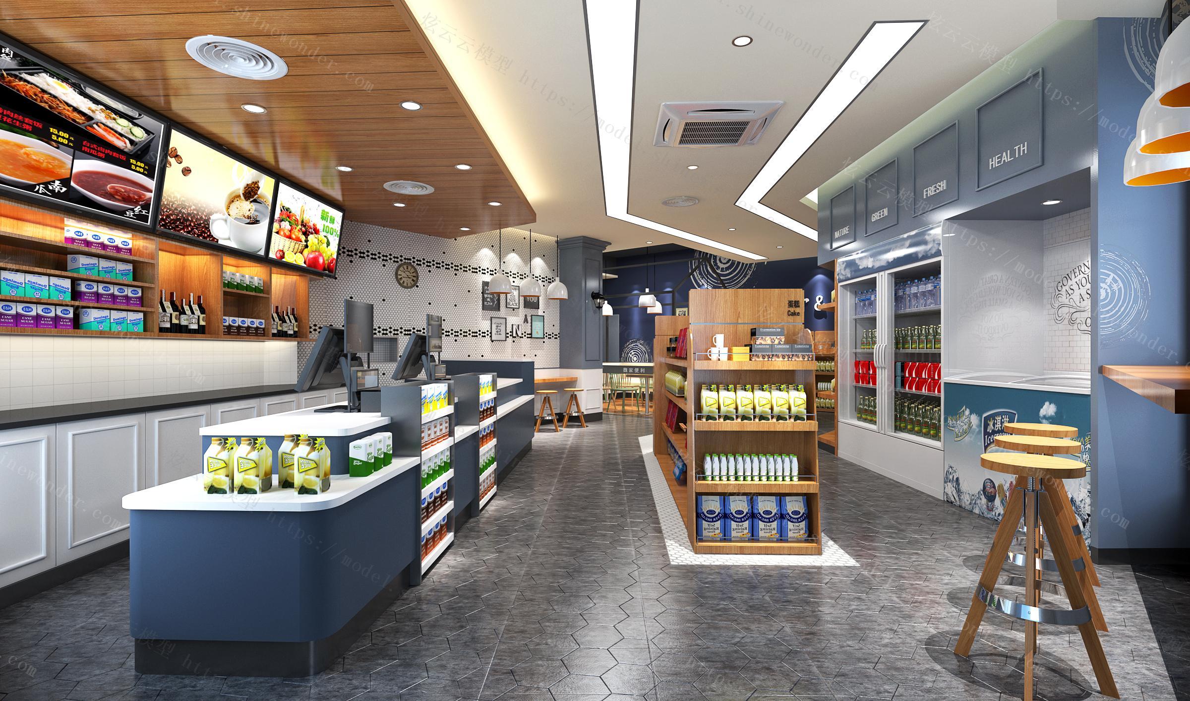 现代便利店超市模型