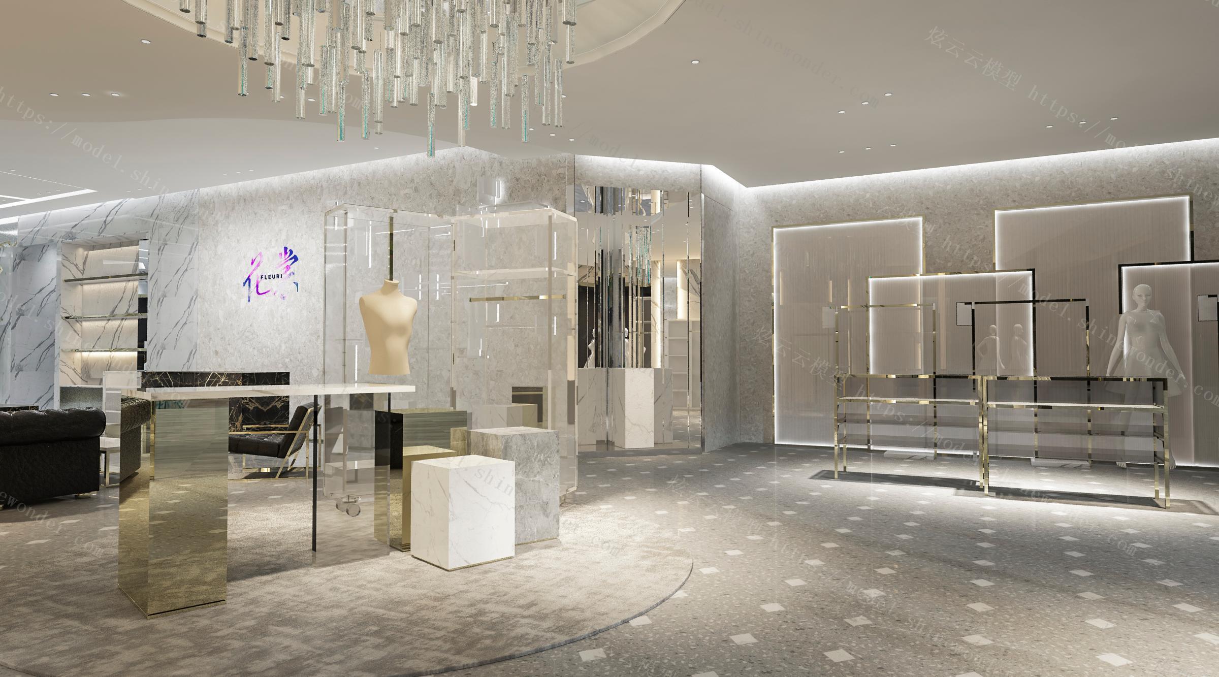 现代轻奢服装店模型