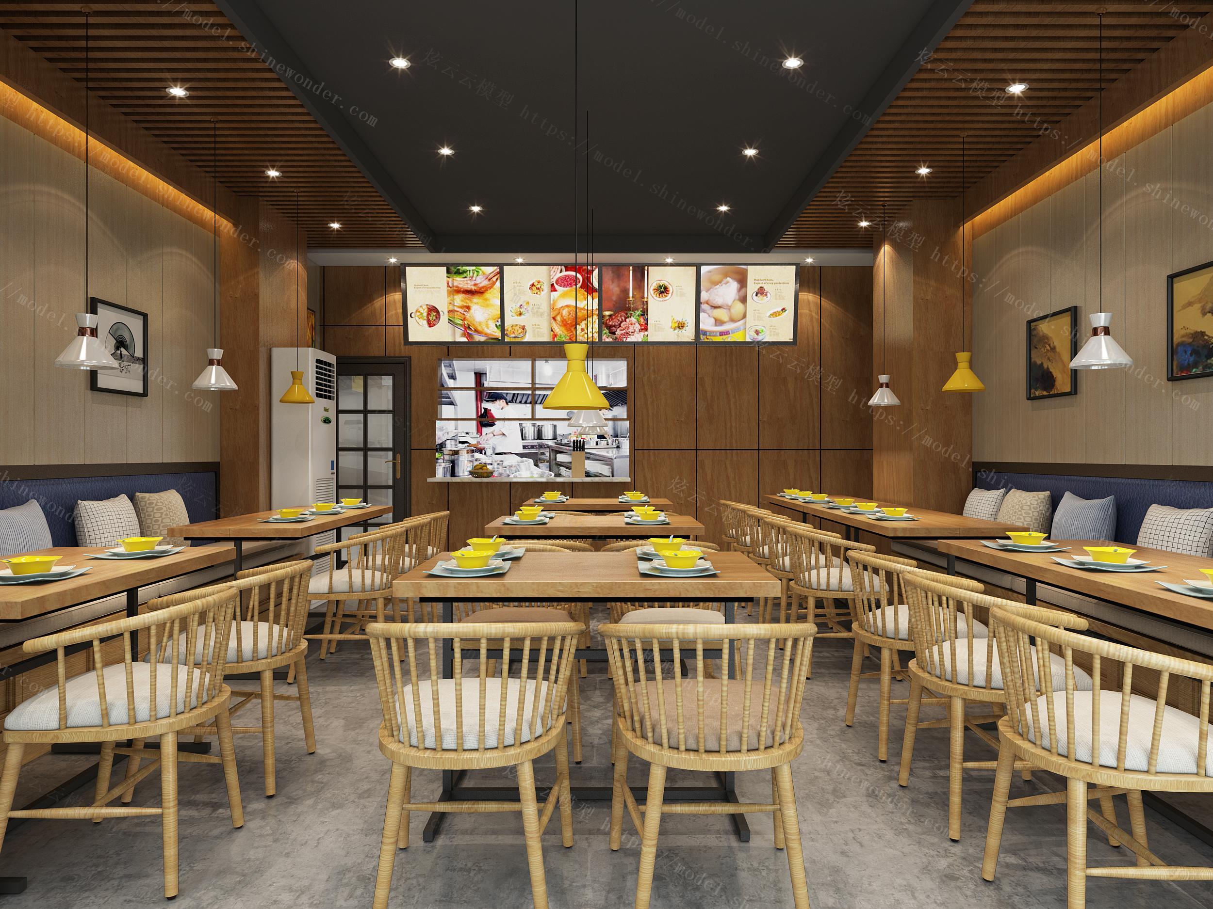 餐厅,餐馆,面馆,个性餐厅,模型