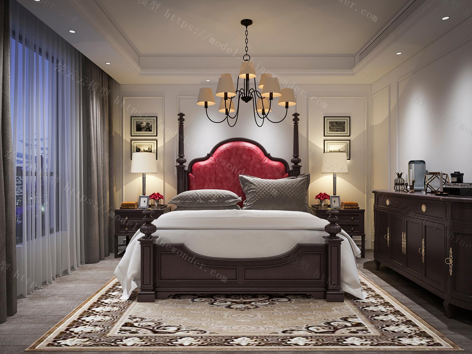 美式卧室模型