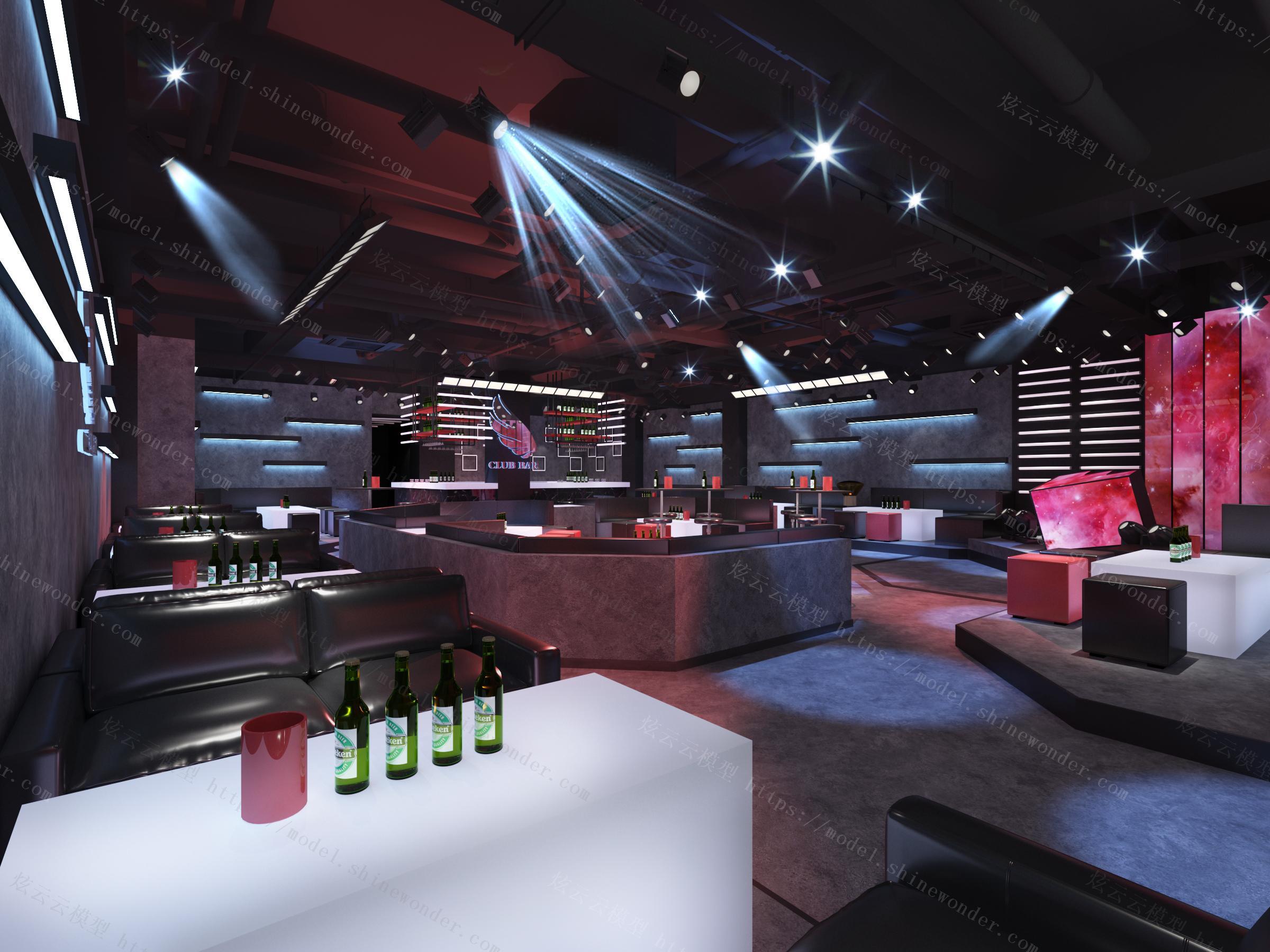 现代音乐酒吧模型