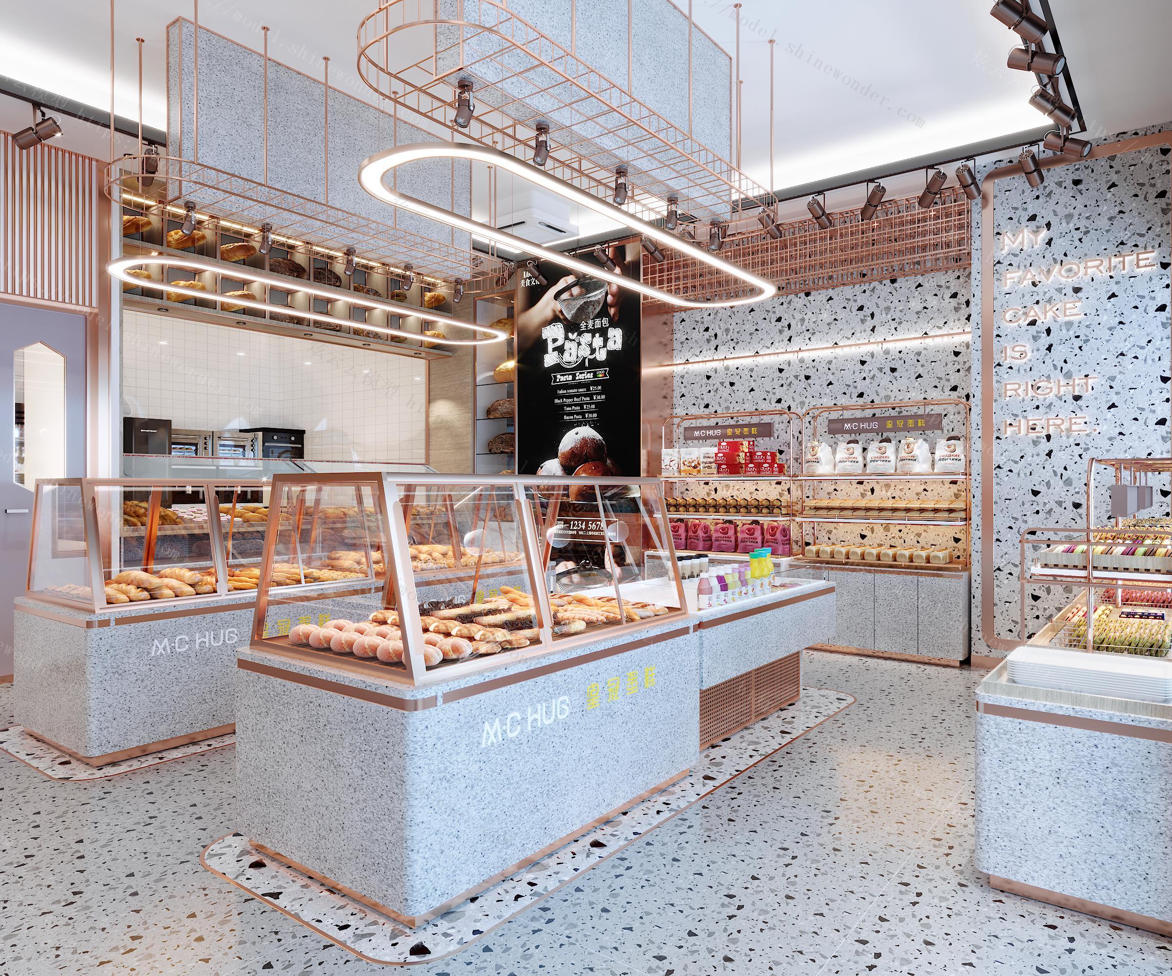 蛋糕店面包店全景模型