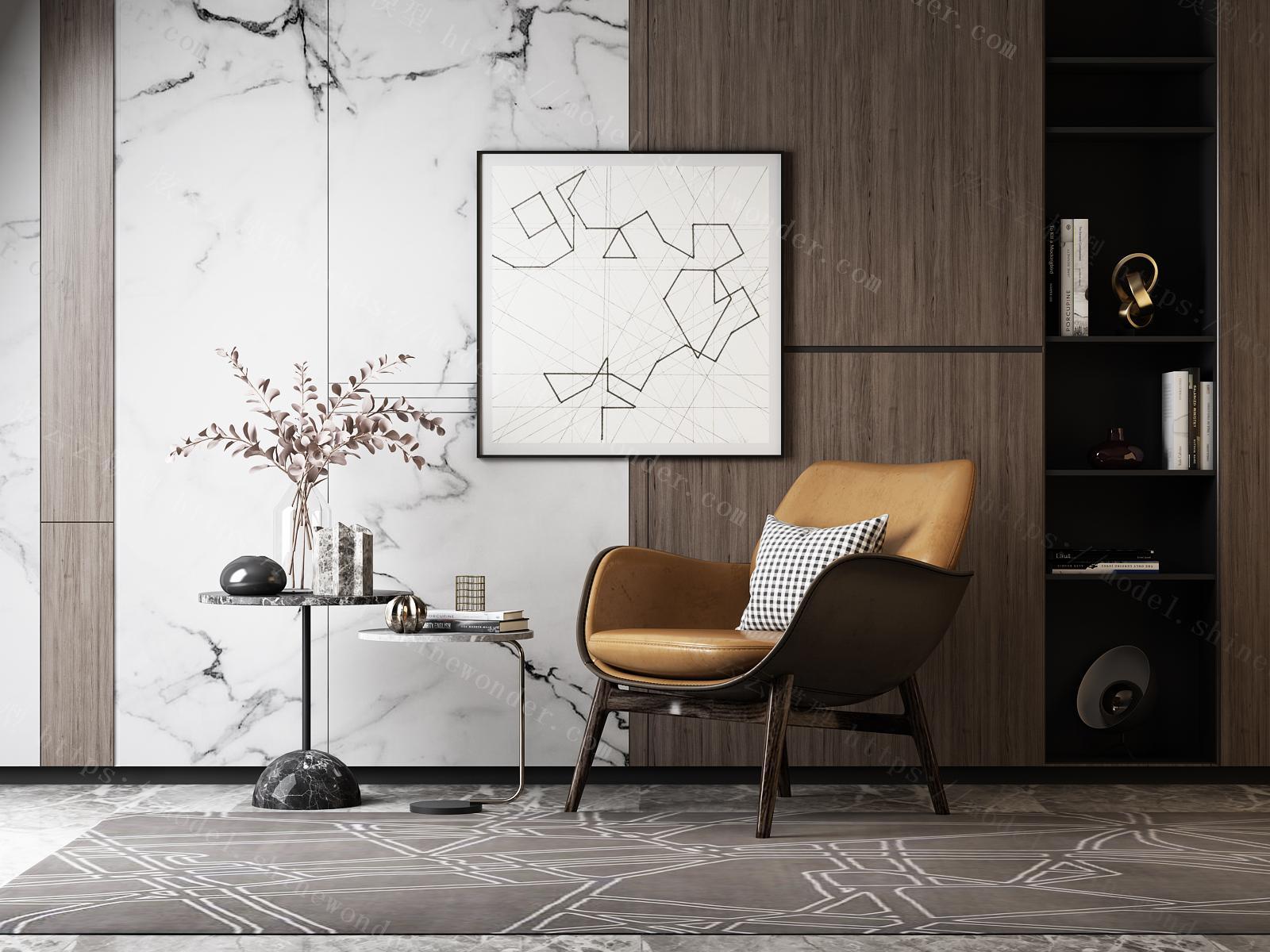 现代皮质休闲单人沙发模型