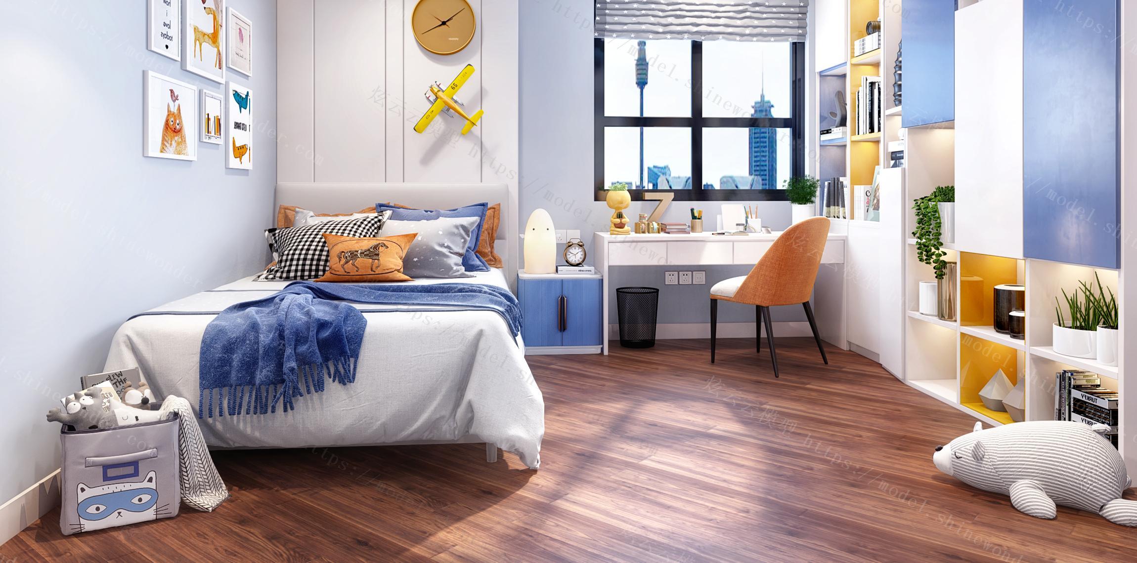 现代北欧儿童房卧室模型
