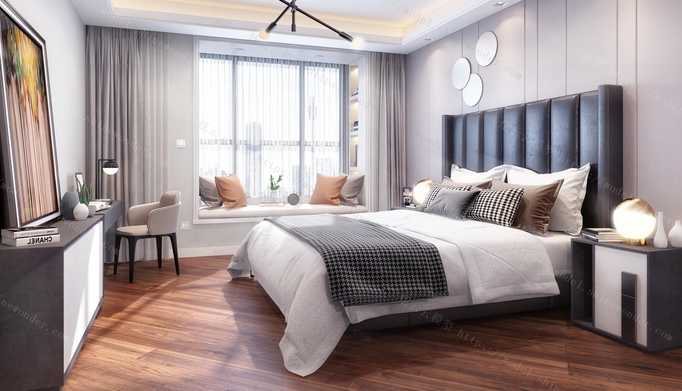 现代北欧主卧室模型