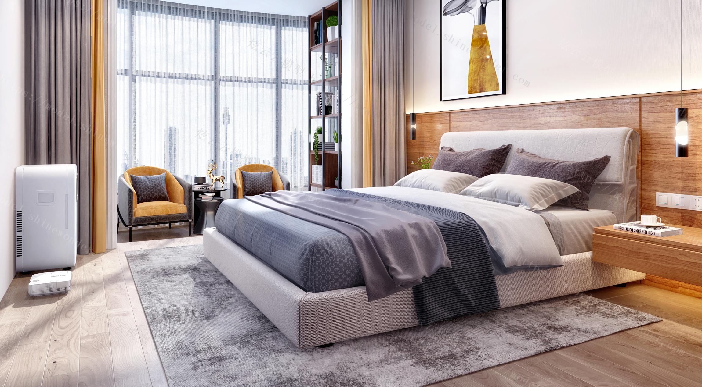现代北欧卧室阳台模型