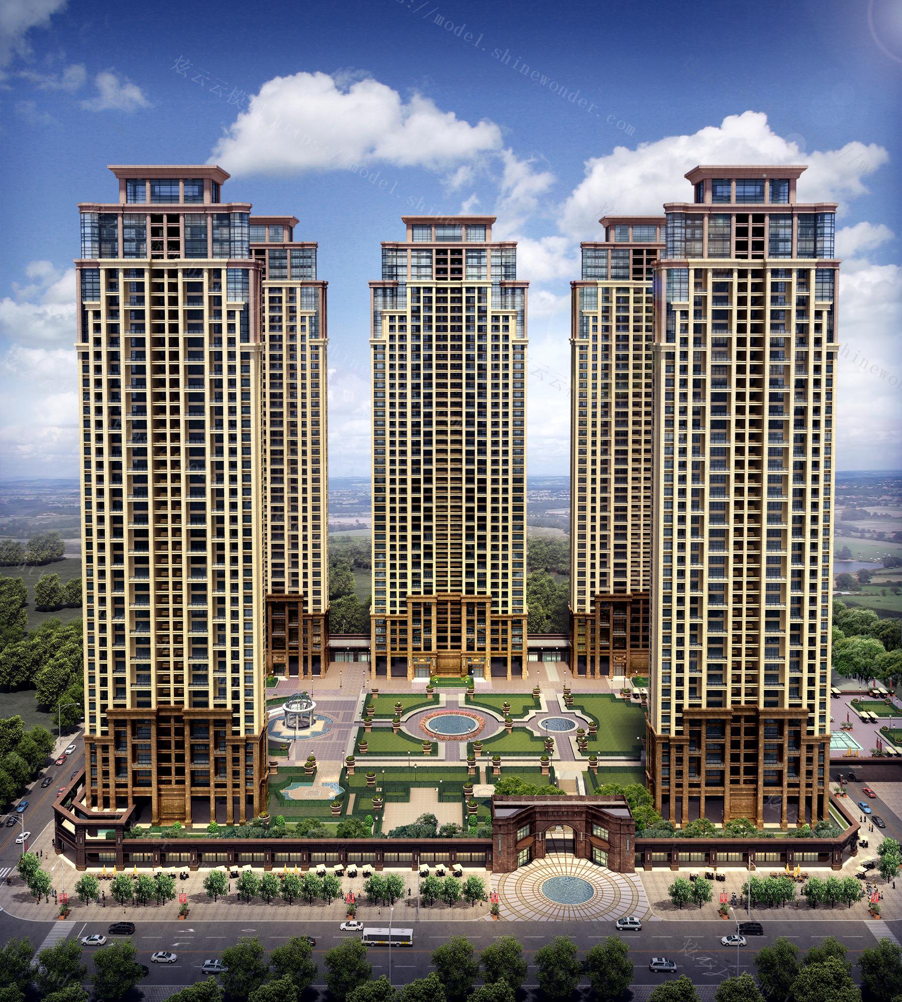 高层住宅半鸟瞰模型