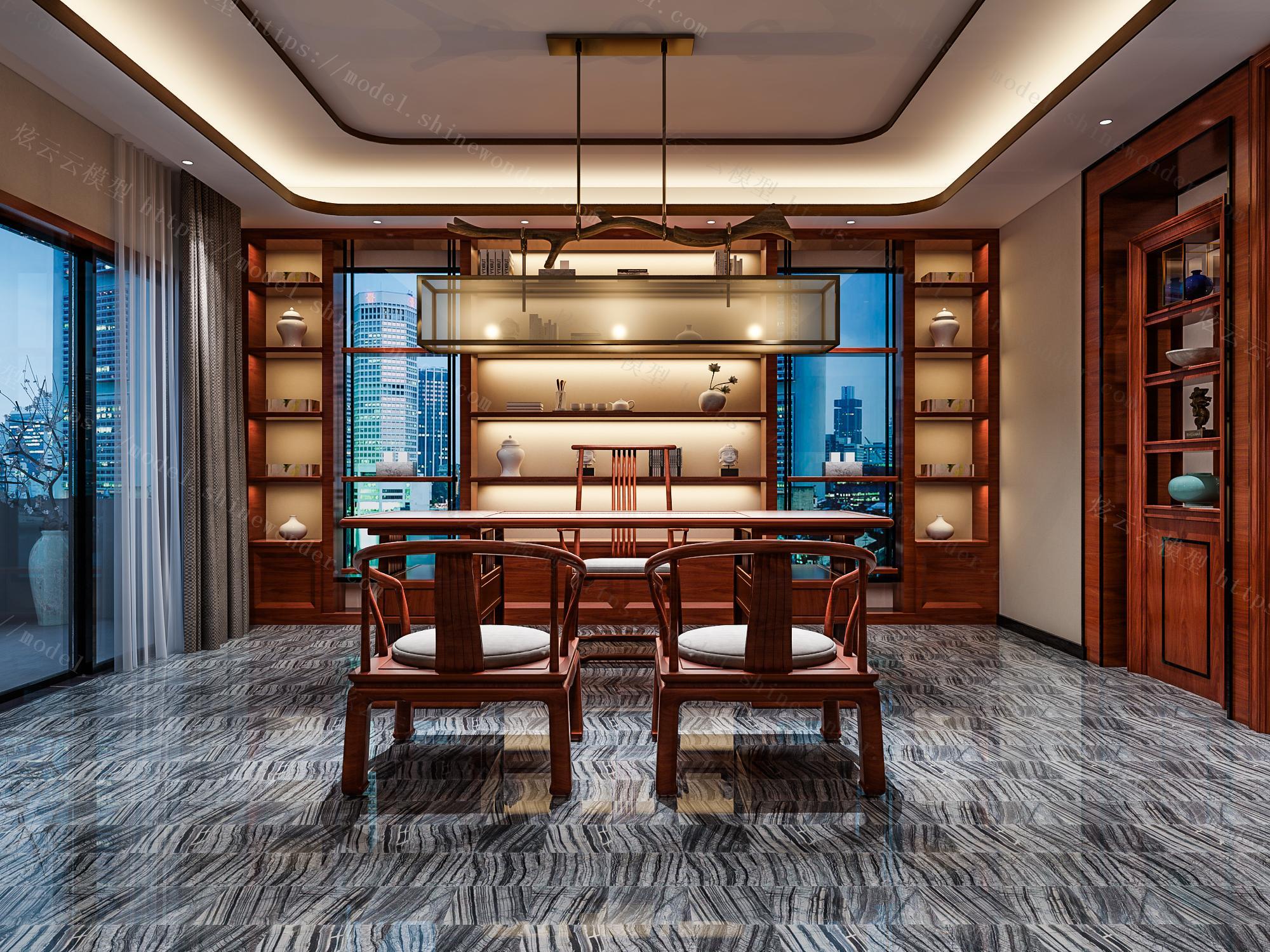 中式二层客厅会客厅模型