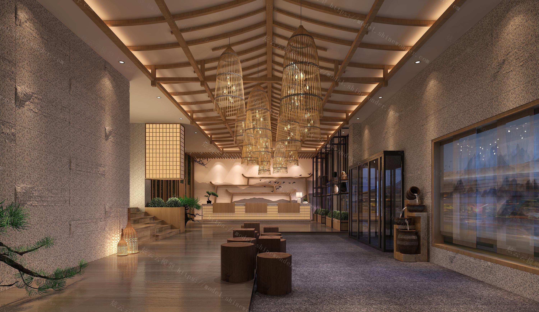 新中式酒店大堂接待模型