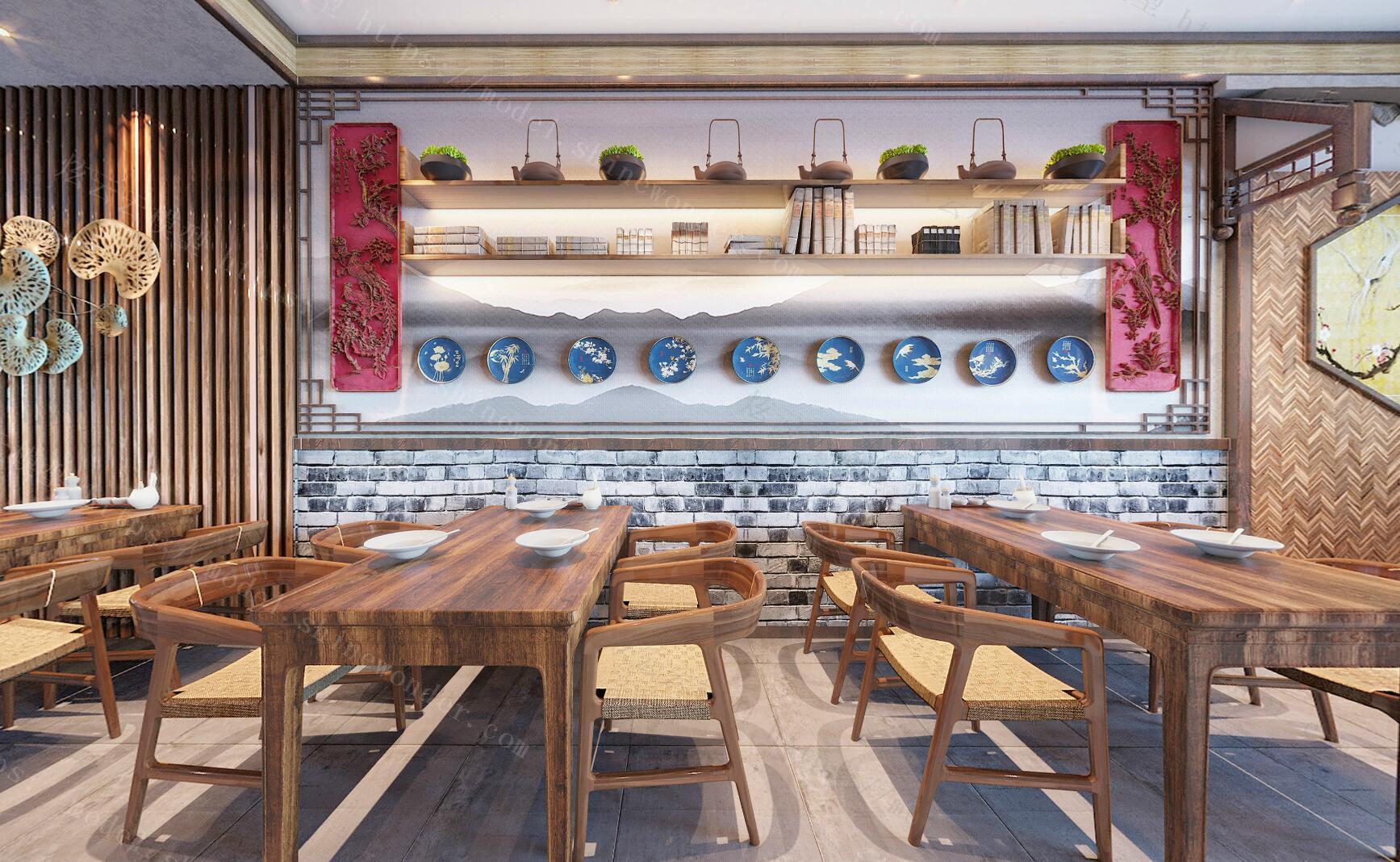 新中式小吃店餐厅模型