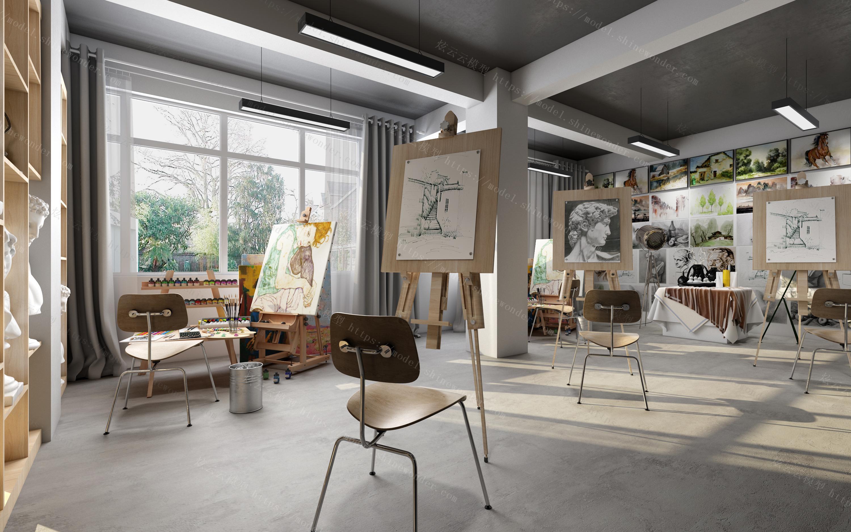 现代画室模型