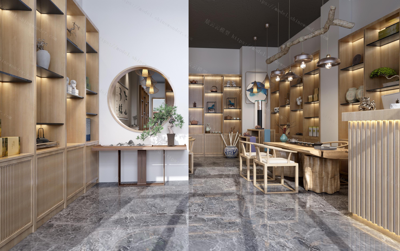 新中式茶叶店茶社模型