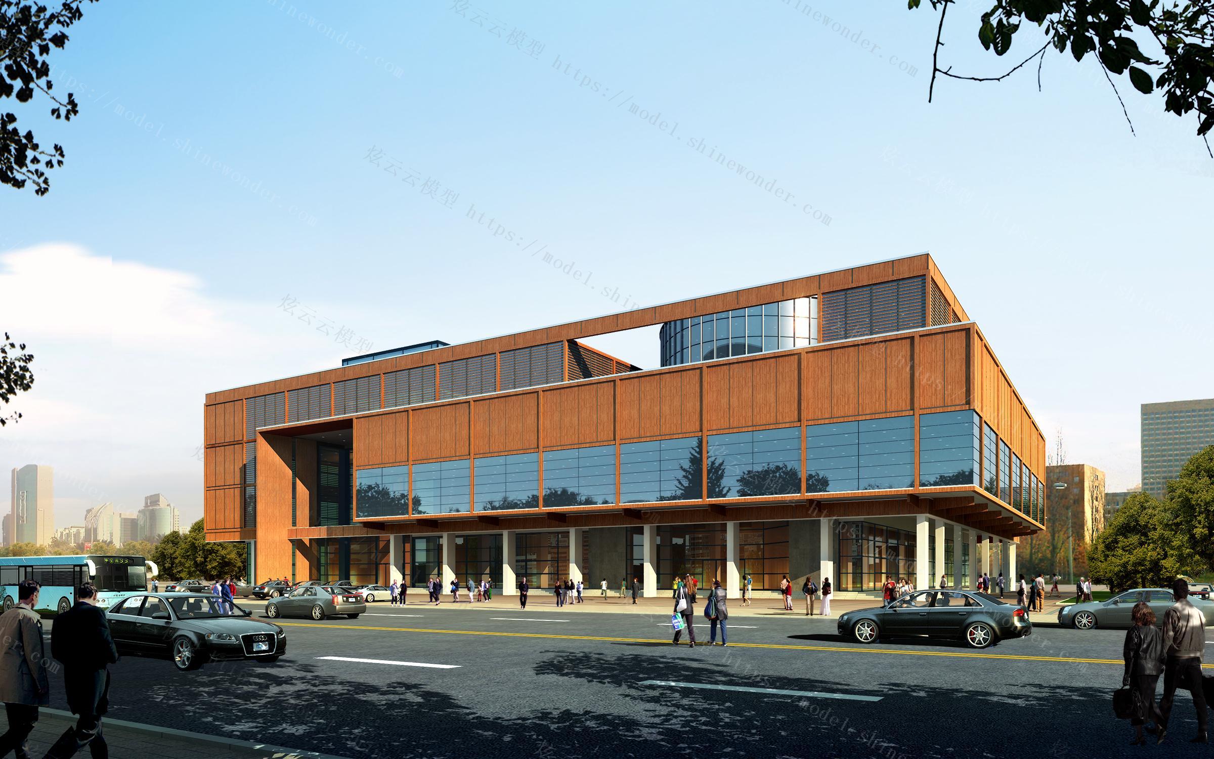 城市图书馆外立面模型