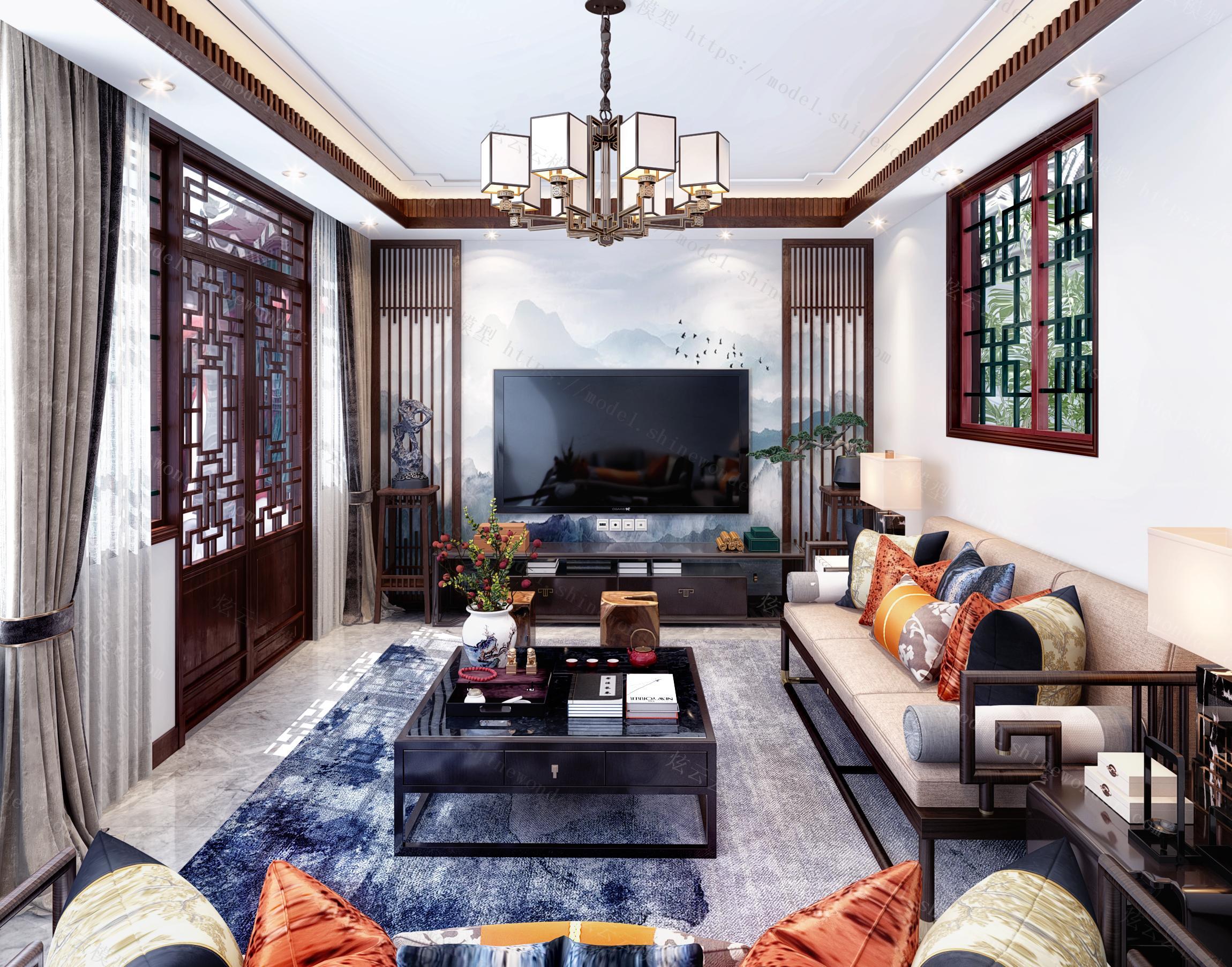 新中式会客厅模型